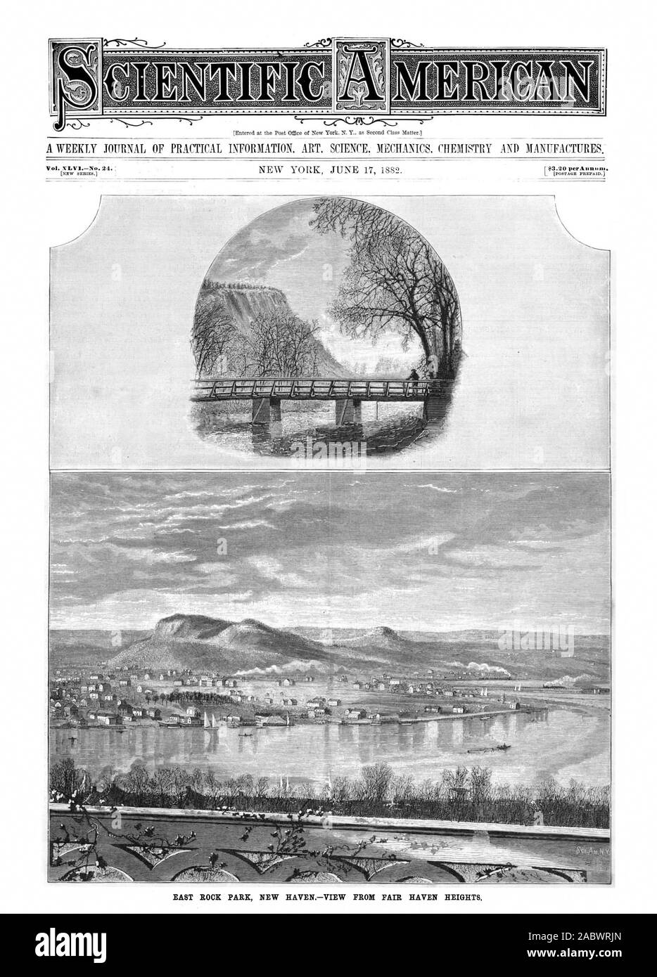 v. QTENTIFI EAST ROCK PARK NEW HAVEN.-VIEW FROM FAIR HAVEN HEIGHTS, scientific american, 1882-06-17 Stock Photo