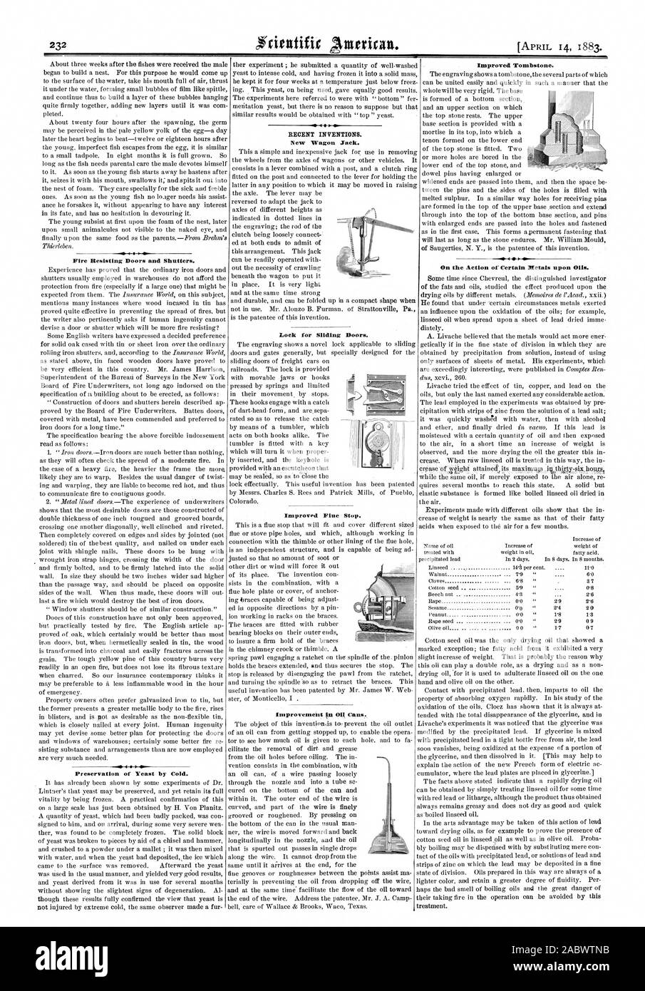 Lock for Sliding Doors. Improved Flue Stop. RECENT INVENTIONS. New Wagon Jack. Improvement in Oli Cans. Fire Resisting Doors and Shutters. Preservation of Yeast by Cold. Improved Tombstone. On the Action of Certain Metals upon Oils., scientific american, 1883-04-14 Stock Photo