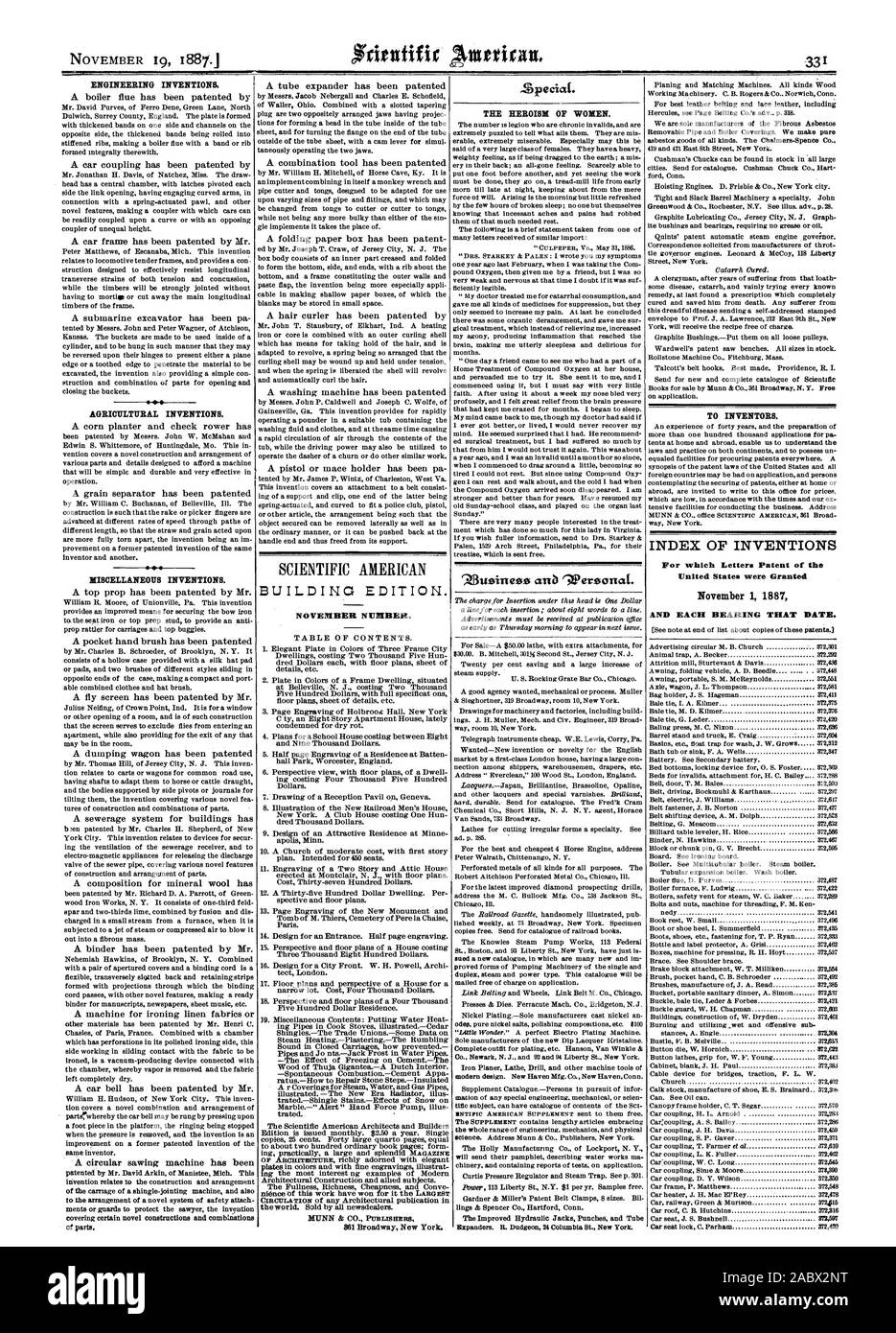 ENGINEERING INVENTIONS AGRICULTURAL INVENTIONS. MISCELLANEOUS INVENTIONS. BUILDING EDITION. NOVEMBER NUMBER. Zpeciat. THE HEROISM OF WOMEN. TO INVENTORS. INDEX OF INVENTIONS For which Letters Patent of the United States were Granted November 1 1887 AND EACH BEARING THAT DATE., scientific american, 1887-11-19 Stock Photo