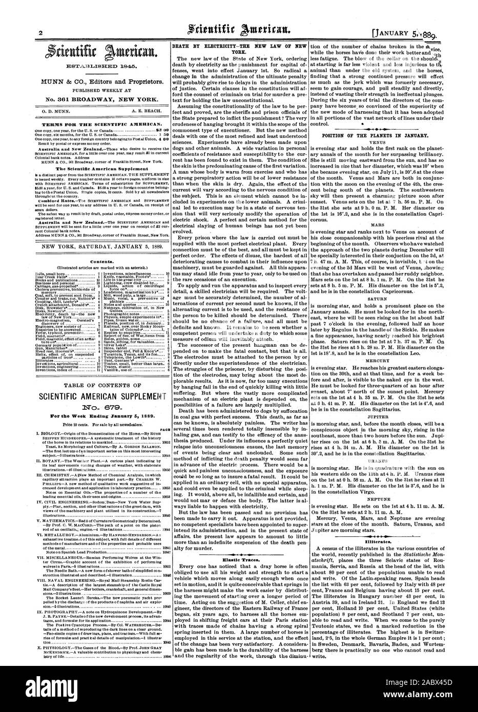 Week Ending January 5 1889. PAGE DEATH BY ELECTRICITY—THE NEW LAW OF NEW YORK. Elastic Traces. POSITION OF THE PLANETS IN JANUARY. MERCURY JUPITER NEPTUNE Illiterates., scientific american, 1889-01-05 Stock Photo