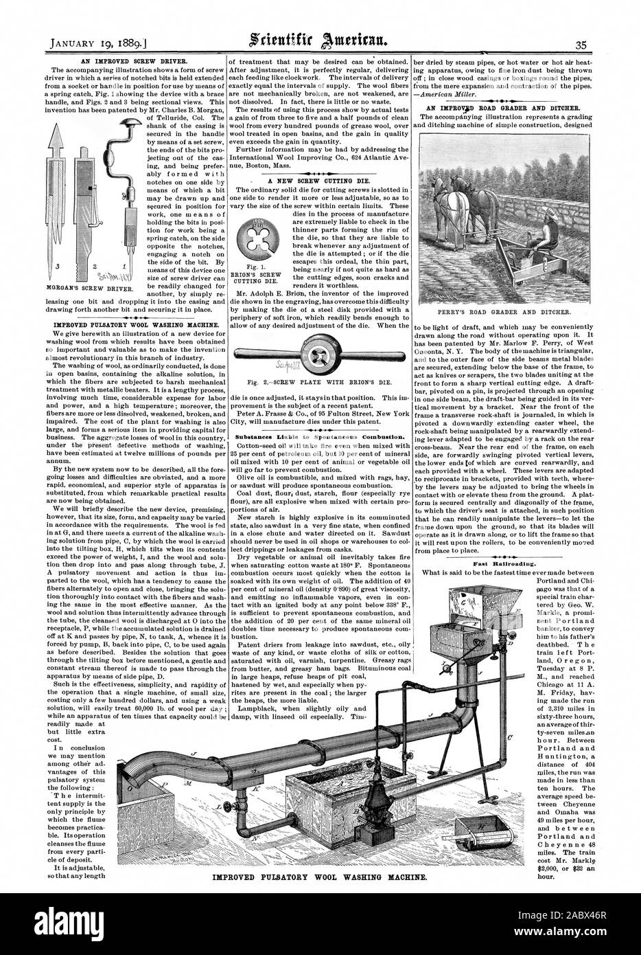 AN IMPROVED SCREW DRIVER. IMPROVED PITLSATORY WOOL WASHING MACHINE. A NEW SCREW CUTTING DIE. Fig. 2SCREW PLATE WITH BRION'S DIE. Substances Liable to Spontaneous Combustion. AN IBIPROVAD ROAD GRADER AND DITCHER. PERRY'S ROAD GRADER AND DITCHER. 2 MORGAN'S SCREW DRIVER. BRION'S SCREW CUTTING DIE. IMPROVED PULSATORY WOOL WASHING MACHINE. Fast Railroading. hour., scientific american, 1889-01-19 Stock Photo