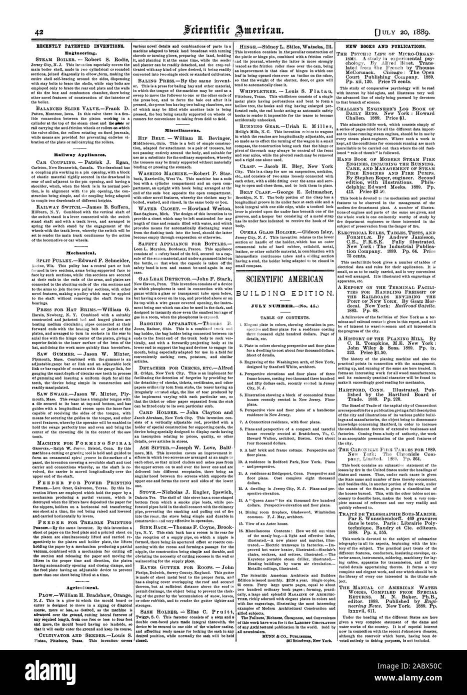 RECENTLY PATENTED INVENTIONS. Engineering. Railway Appliances. Mechanical. Agricultural. NEW BOOKS AND PUBLICATIONS. Miscellaneous., scientific american, 1889-07-11 Stock Photo