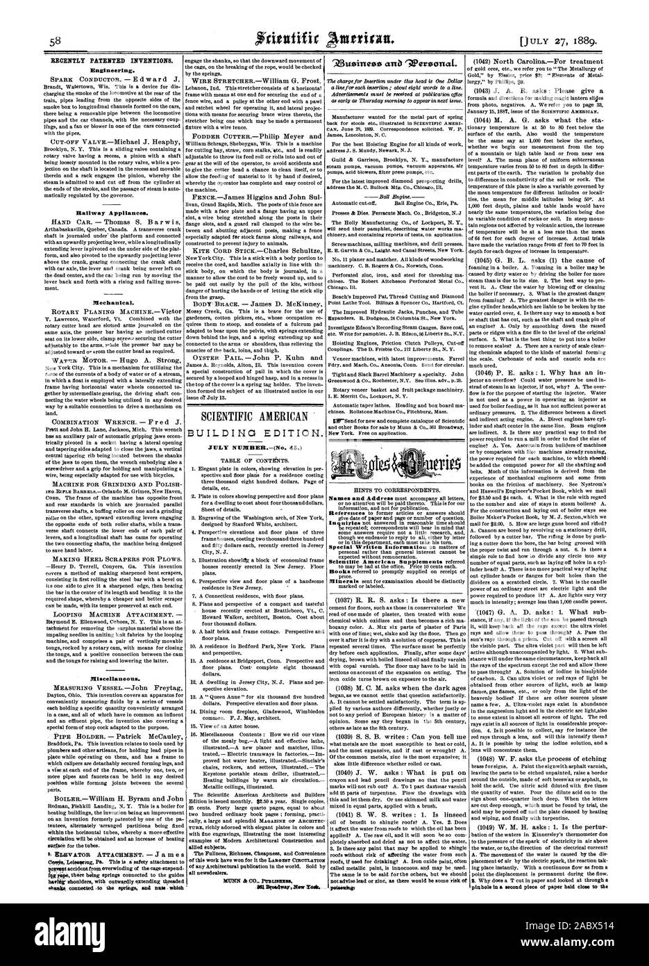 RECENTLY PATENTED INVENTIONS. Engineering. Hallway Appliances. Mechanical. Miscellaneous. BUILDING EDITION. JULY NUMBER.-(No. 45.) all newsdealer rZ3usines3ss anb 'APeroanai. poisoning', scientific american, 1889-07-11 Stock Photo