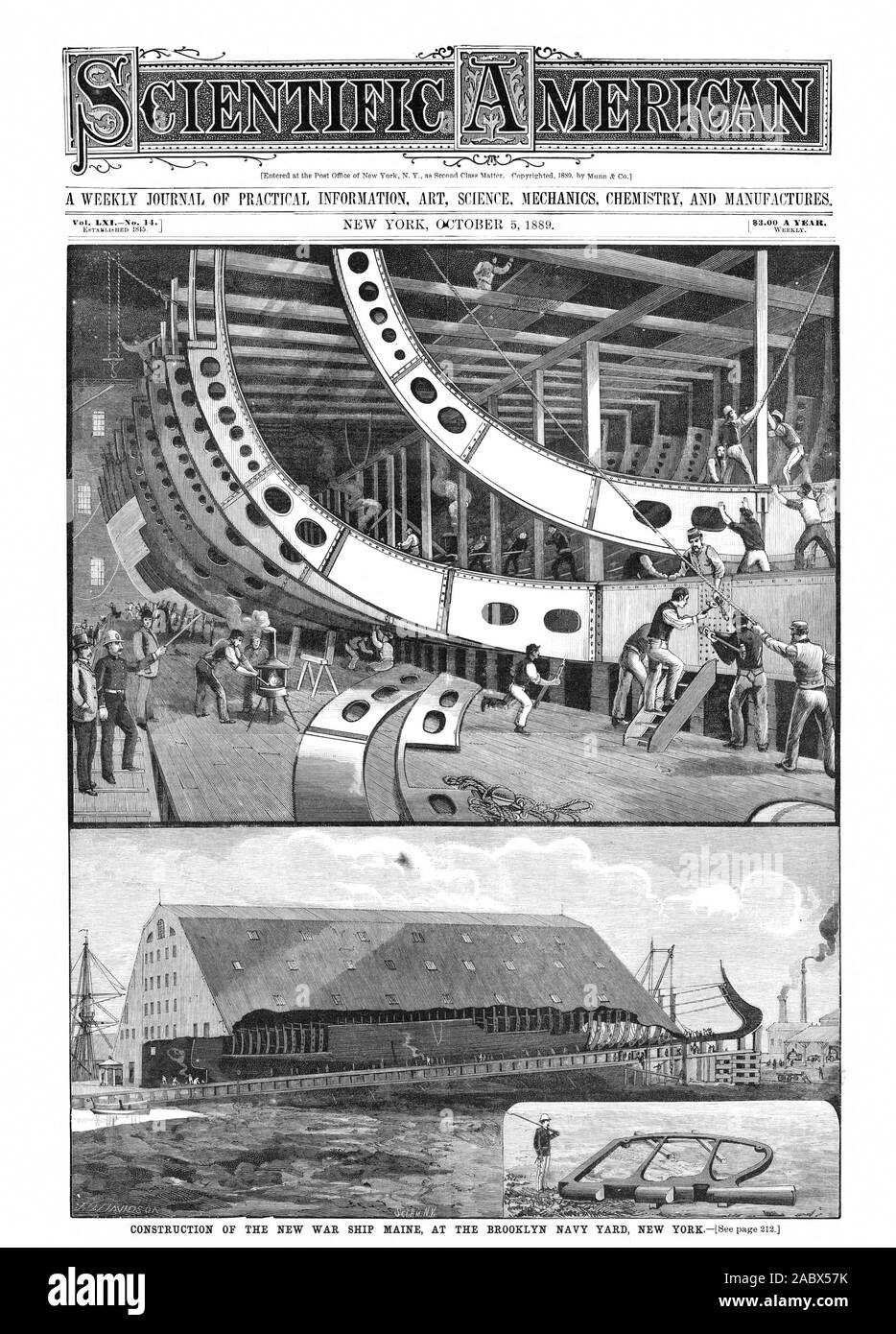 """CONSTRUCTION OF THE NEW WAR SHIP MAINE AT THE BROOKLYN NAVY YARD NEW YORK[See page 212. $3.00 A YEAR. %MOW 1 IMO """", scientific american, 1889-10-05 Stock Photo"""