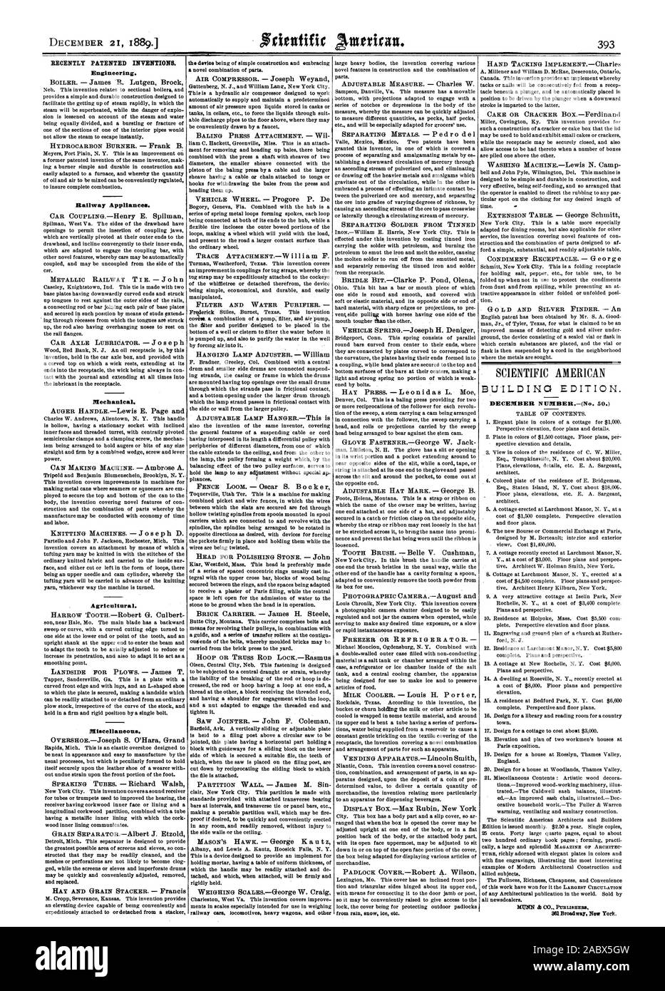 RECENTLY PATENTED INVENTIONS. Engineering. Railway Appliances. CET. Mechanical. Agricultural. Miscellaneous. BUILDING EDITION., scientific american, 1889-12-21 Stock Photo