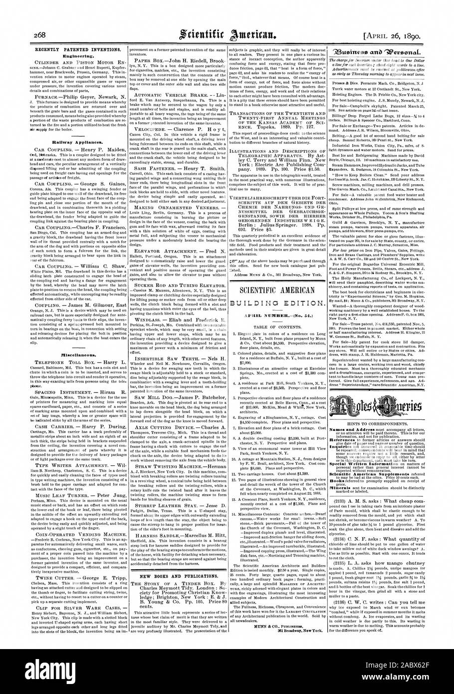 RECENTLY PATENTED INVENTIONS. Engineering. Railway Appliances. Miscellaneous. NEW BOOKS AND PUBLICATIONS. SCIENTIFIC AMERICAN BUILDING EDITION., 1890-04-11 Stock Photo