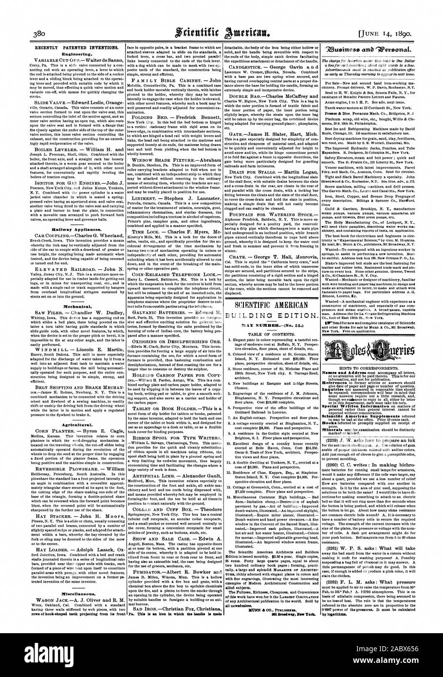 RECENTLY PATENTED INVENTIONS. Engineering. Railway Appliances. Mechanical. Agricultural. Miscellaneous. all newsdealer'. by logarithms., scientific american, 1890-06-11 Stock Photo