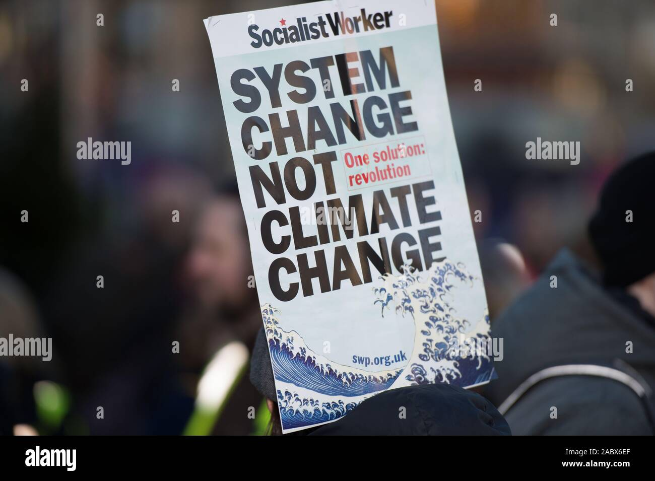 Glasgow, UK. 29th Nov, 2019. Pictured: Climate Change Protestors. Scottish Green Party take part in an organised Climate change protest in George Square, Glasgow. Credit: Colin Fisher/Alamy Live News Stock Photo