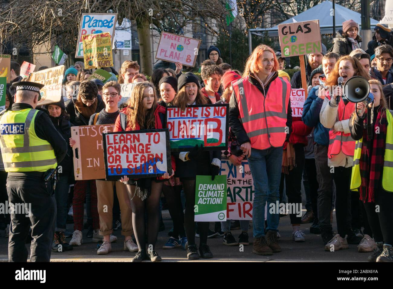 Glasgow, UK. 29th Nov, 2019. Students and school pupils taking part in the Youth Climate Strike protest today in George Square Glasgow. Credit: Richard Gass/Alamy Live News Stock Photo