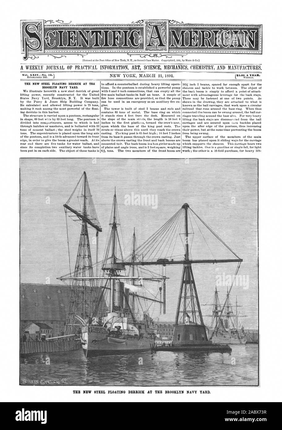 Vol. LXI VNo. 12. THE NEW STEEL FLOATING DERRICK AT THE BROOKLYN NAVY YARD., scientific american, 1891-03-21 Stock Photo