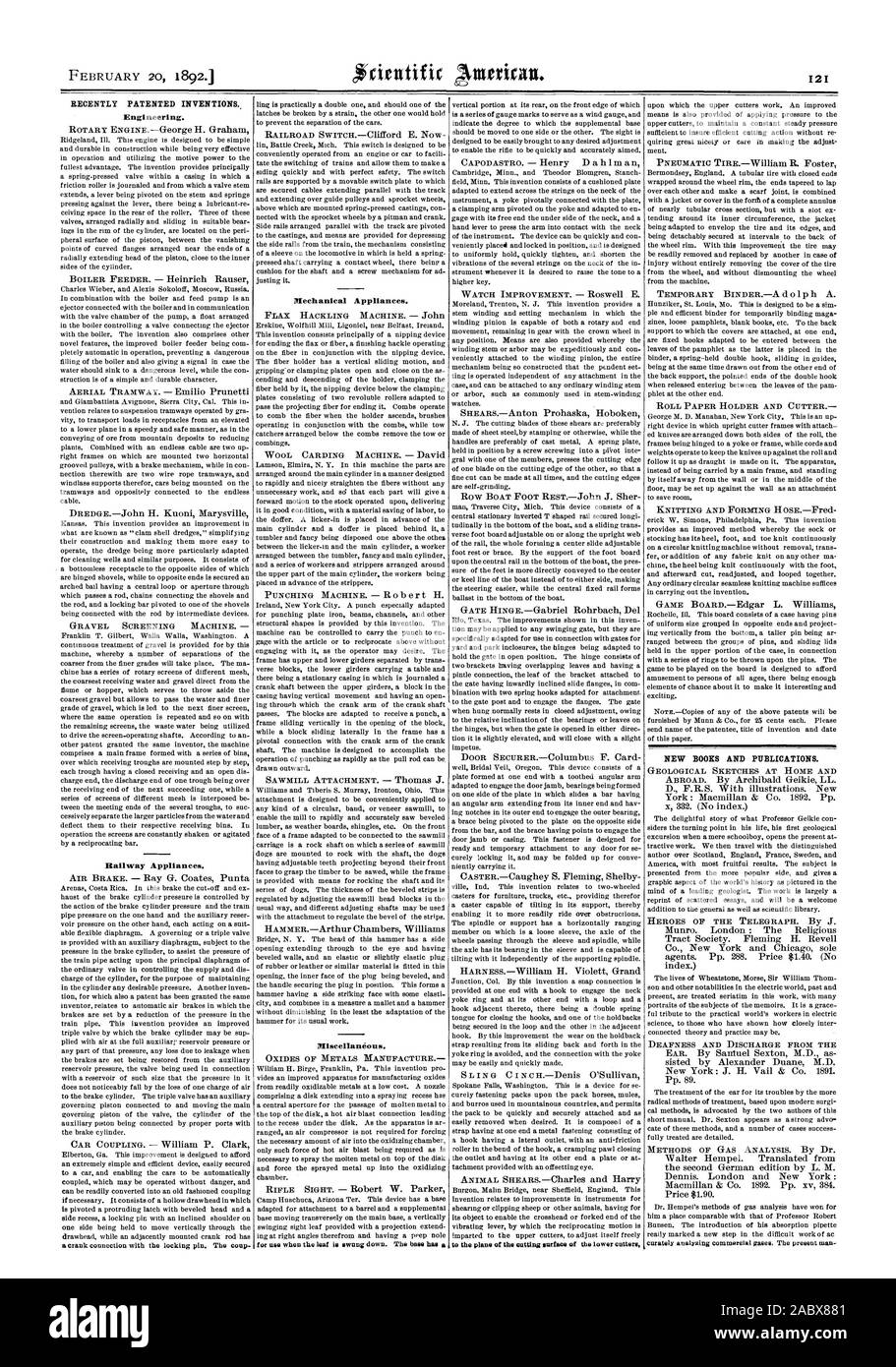 RECENTLY PATENTED INVENTIONS Engineering. Railway Appliances. Mechanical Appliances. Miscellaneous. NEW BOOKS AND PUBLICATIONS., scientific american, 1892-02-20 Stock Photo