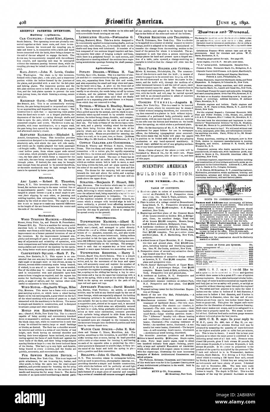 RECENTLY PATENTED INVENTIONS. Railway Appliances. Agricultural. JUNE NUMBER(No. 80.) allied subjects. The Fullness Richness Cheapness and Convenience of any Architectural publication in the world. Sold bj all newsdealer's. MUNN A CO. PUBLISHERS. 'Z3usinese arta ^OPersonat. [Mechanical. WOOD TURNING MACHINEAbraham Miscellaneous., scientific american, 1892-06-25 Stock Photo
