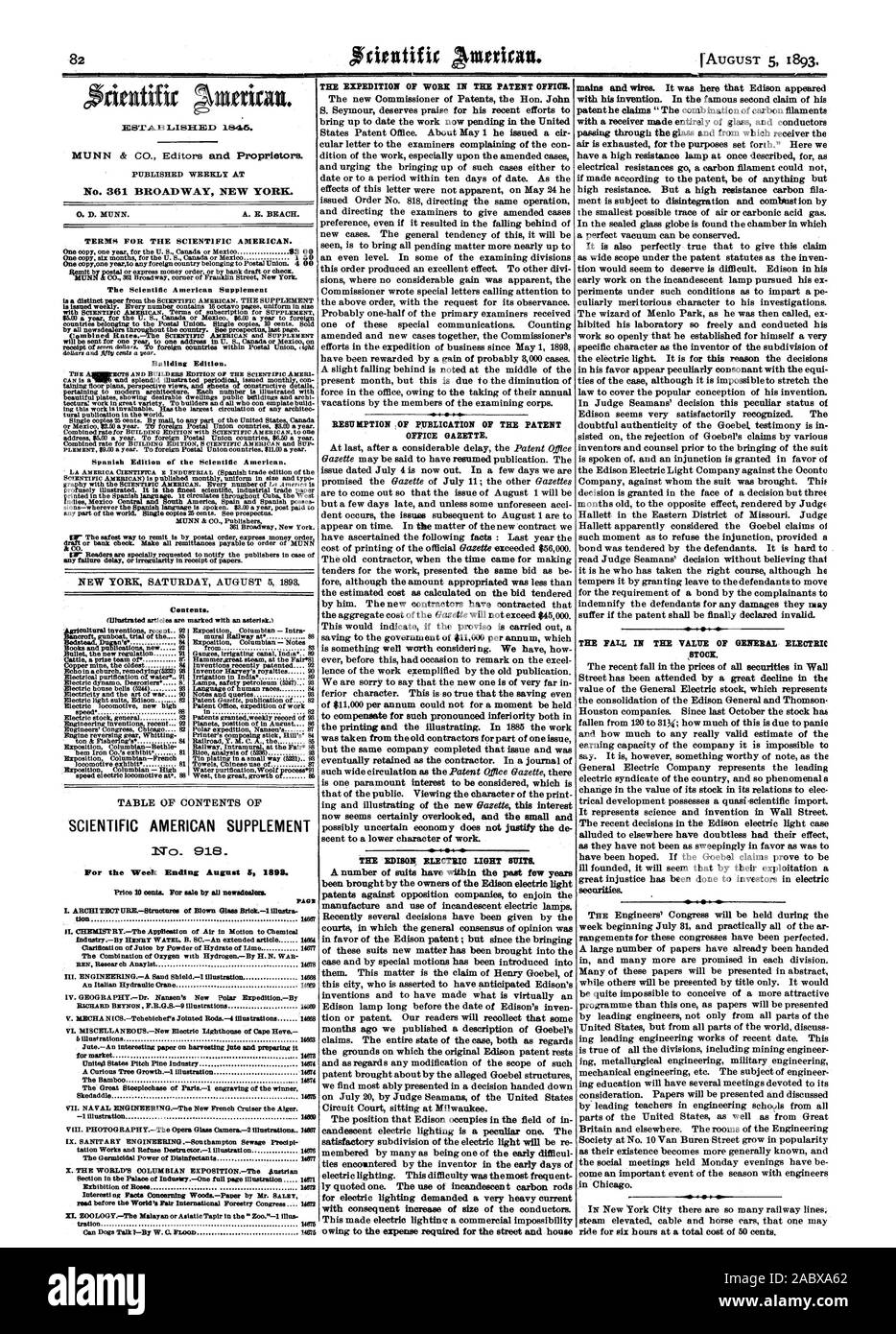 Building Edition. SCIENTIFIC AMERICAN SUPPLEMENT No. 918. For the Week Ending August 59 1893. Price 10 cents. For sale by all newsdealer, 1893-08-05 Stock Photo