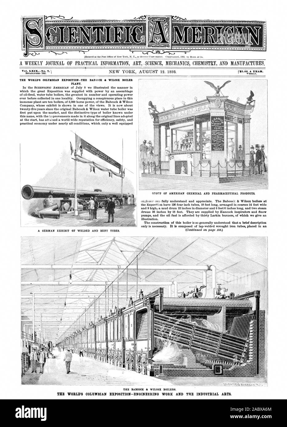 A WEEKLY JOURNAL OF PRACTICAL INFORMATION ART .SCIENCE MECHANICS CHEMISTRY AND MANUFACTURES. IOM THE BABCOCK & WILCOX BOILERS. THE WORLD'S COLUMBIAN EXPOSITION—ENGINEERING WORK AND THE INDUSTRIAL ARTS., scientific american, 1893-08-12 Stock Photo