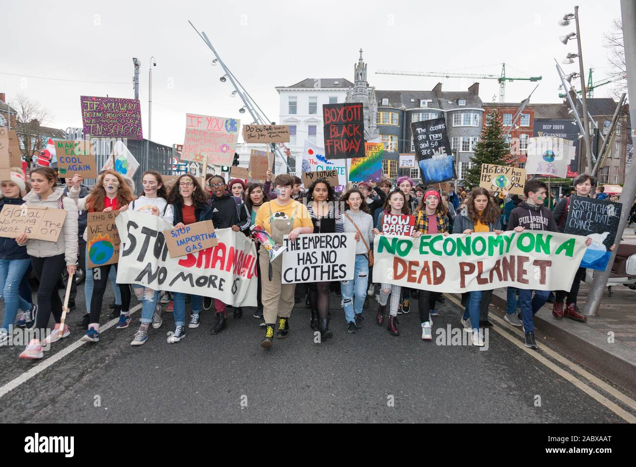 Cork City, Cork, Ireland. 29th Nov, 2019. Students taking part in the Global Climate Strike that was held in Cork City, Ireland.- Credit: David Creedon/Alamy Live News Stock Photo