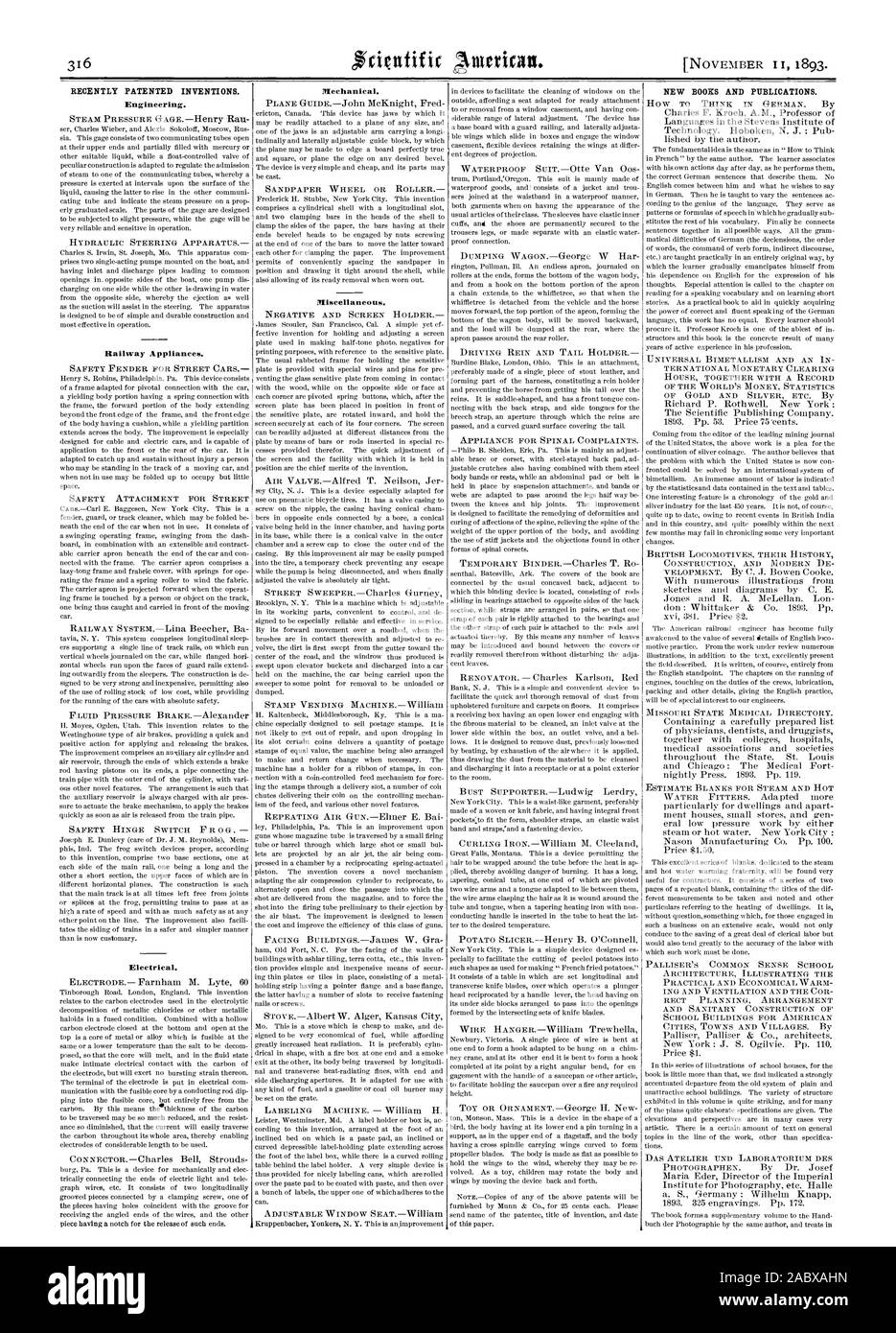 RECENTLY PATENTED INVENTIONS. Engineering. Railway Appliances. Electrical. Mechanical. Miscellaneous. NEW BOOKS AND PUBLICATIONS., scientific american, 1893 Stock Photo