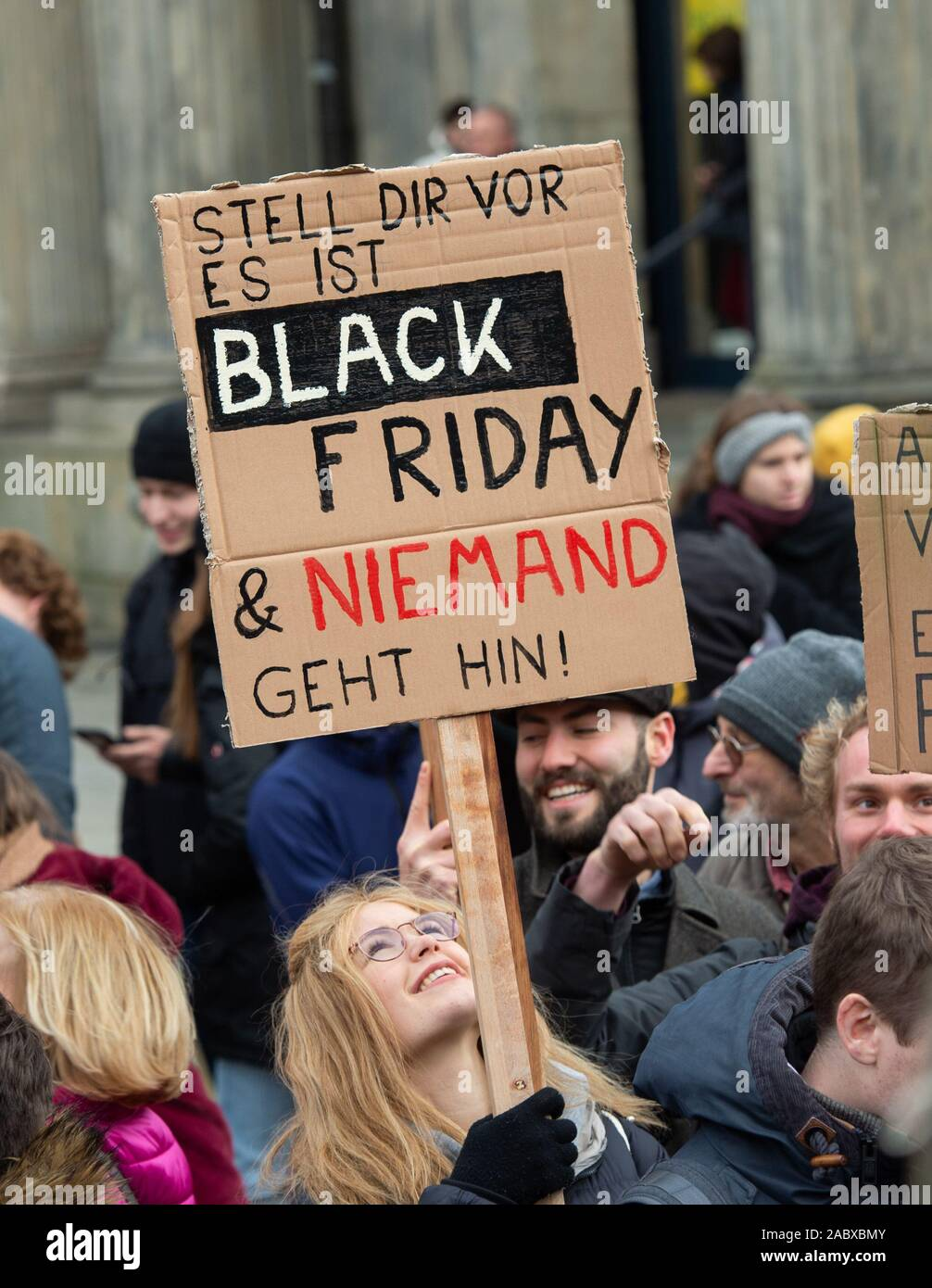 Hanover Germany 29th Nov 2019 A Demonstrator Holds A Sign With The Inscription Imagine It S Black