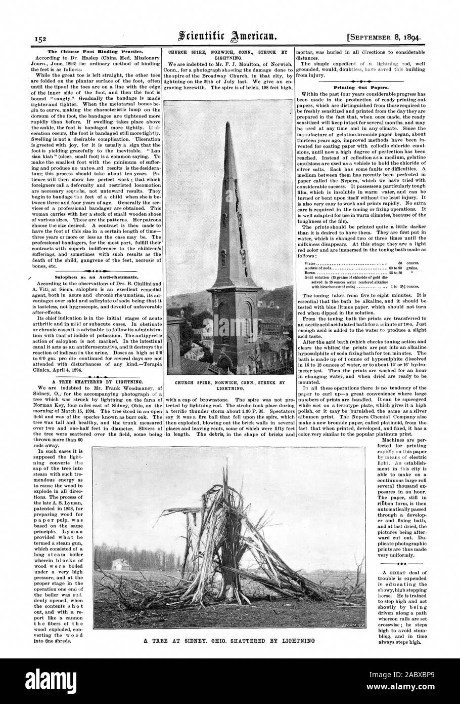 The Chinese Foot Binding Practice. Salophen ak. an Anti-rheumatic. CHURCH SPIRE NORWICH CONN. STRUCK BY LIGHTNING. CHURCH SPIRE NORWICH CONN. STRUCK BY LIGHTNING. Printing Out Papers. A TREE AT SIDNEY. OHIO. SHATTERED BY LIGHTNING, scientific american, 1894-09-08 Stock Photo
