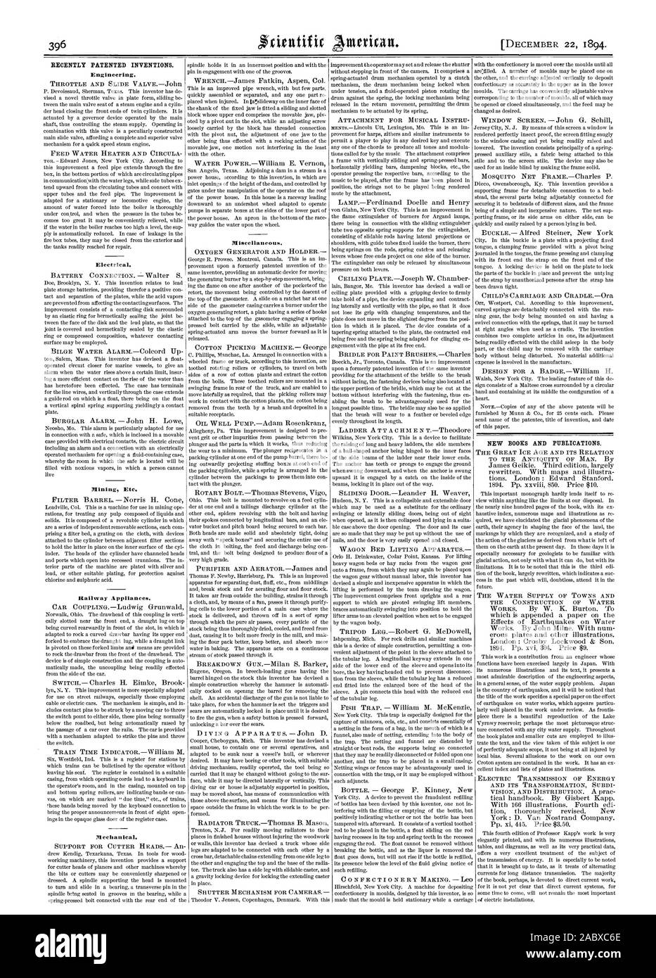 RECENTLY PATENTED INVENTIONS. Engineering. THROTTLE AND SLIDE VALVEJohn FEED WATER HEATER AND CIRCULA Electrical. Mining Etc. Railway Appliances. Mechanical. Miscellaneous. NEW BOOKS AND PUBLICATIONS. THE WATER SUPPLY OF TOWNS AND THE CONSTRUCTION OF WATER, scientific american, 1894-12-11 Stock Photo