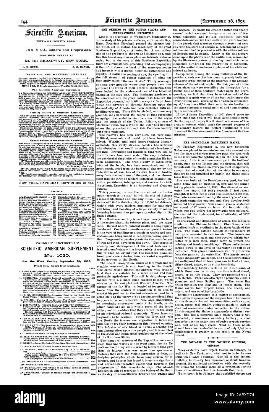No. 361 BROADWAY NEW YORK. Building Edition of Scientific American. Export Edition of the Scientific American TABLE OF CONTENTS OF SCIENTIFIC AMERICAN SUPPLEMENT No  1030 For the Week Ending September 282 1895. Price 10 Cents. For sale by all newsdealer. PAGE 'Warr 16016 THE OPENING OF THE COTTON STATES AND INTERNATIONAL EXPOSITION. as the day of reconciliation between the whites and THE SECOND-CLASS BATTLESHIP MAINE. THE COLLAPSE OF THE COLISEUM BUILDING CHICAGO. This time it is in Chicago that unskilled design and, 1895-09-28 Stock Photo