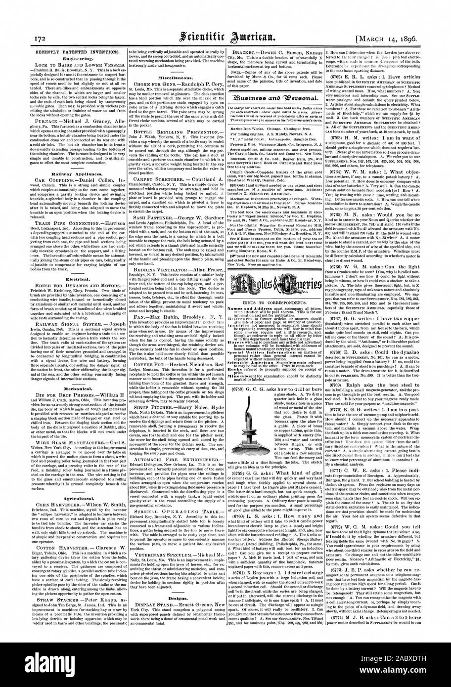 RECENTLY PATENTED INVENTIONS. Engineering. Railway Appliances. Electrical. Mechanical. Agricultural. Miscellaneous. Designs., scientific american, 96-03-11 Stock Photo