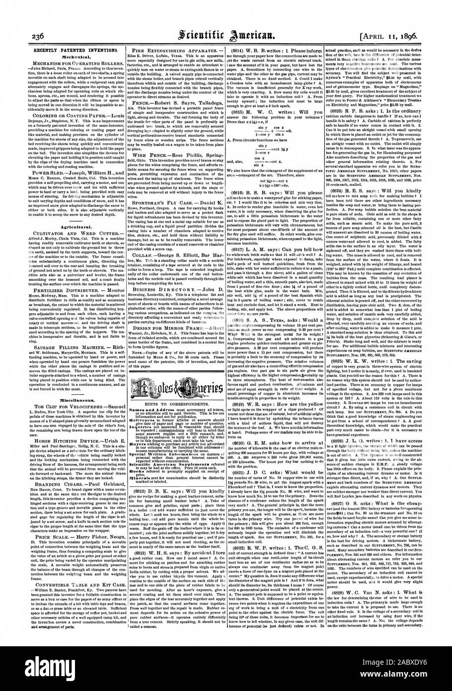 RECENTLY PATENTED INVENTIONS. Mechanical. MECHANISM FOR OPERATING ROLLERS. Agricultu ral. CULTIVATOR AND WEED CUTTER FERTILIZER DISTRIBUTER. — Monroe Miscellaneous. TOE CLIP FOR VELOCIPEDESSamuel and arrangement of parts. FIRE EXTINGUISHING APPARATUS.  sin y 1—cos y form us. on the ratio between the tame in primary and secondary., scientific american, 1896-0 Stock Photo