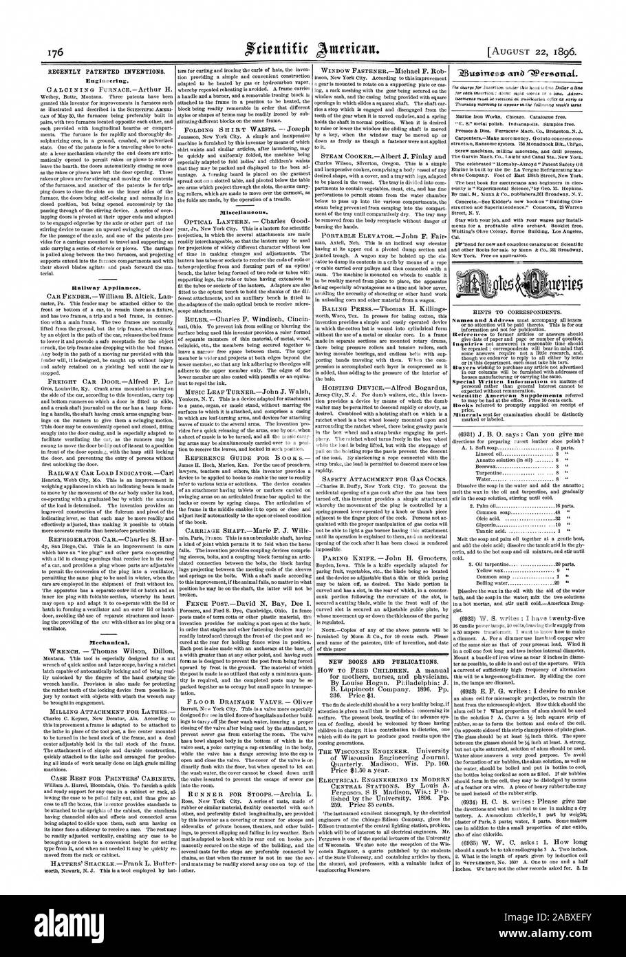 RECENTLY PATENTED INVENTIONS. Engineering. Railway Appliances. Mechanical. Miscellaneous. NEW BOOKS AND PUBLICATIONS. 1, scientific american, 1896-08-11 Stock Photo