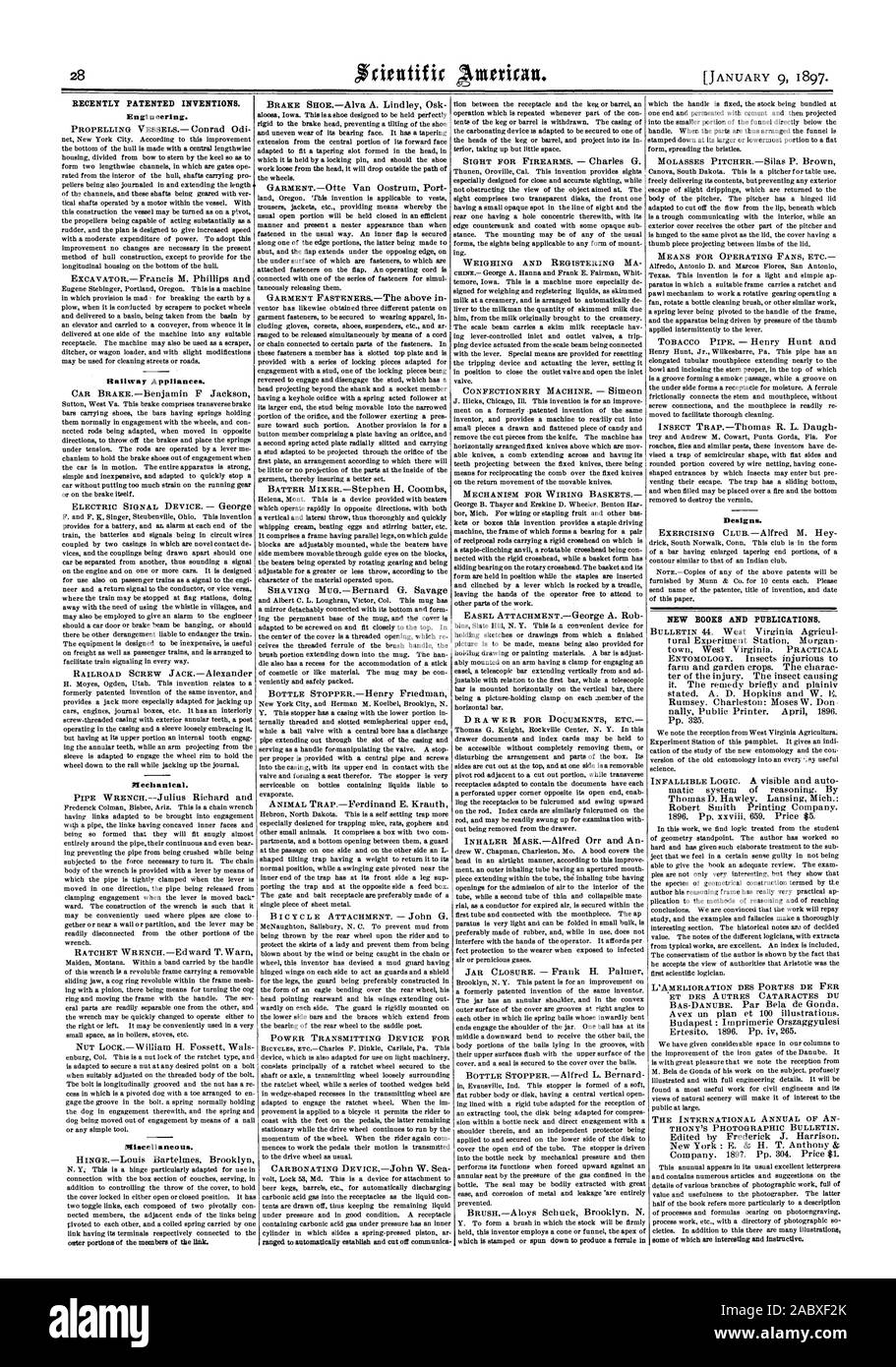 RECENTLY PATENTED INVENTIONS. Engineering. Railway Appliances. Mechanical. Miscellaneous. Designs. NEW BOOKS AND PUBLICATIONS., scientific american, 1897-01-11 Stock Photo