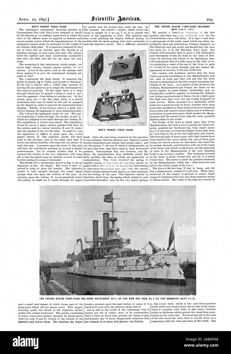 APRIL 10 1897. NEY'S POCKET FIELD GLASS. NEY'S POCKET FIELD GLASS. THE UNITED STATES FIRST-CLASS SEA-GOING BATTLESHIP IOWA. asp? THE UNITED STATES FIRST-CLASS SEA-GOING BATTLESHIP IOWA IN THE NEW DRY DOCK No. 3 AT THE BROOKLYN NAVY YARD., scientific american, 1897-04-10 Stock Photo