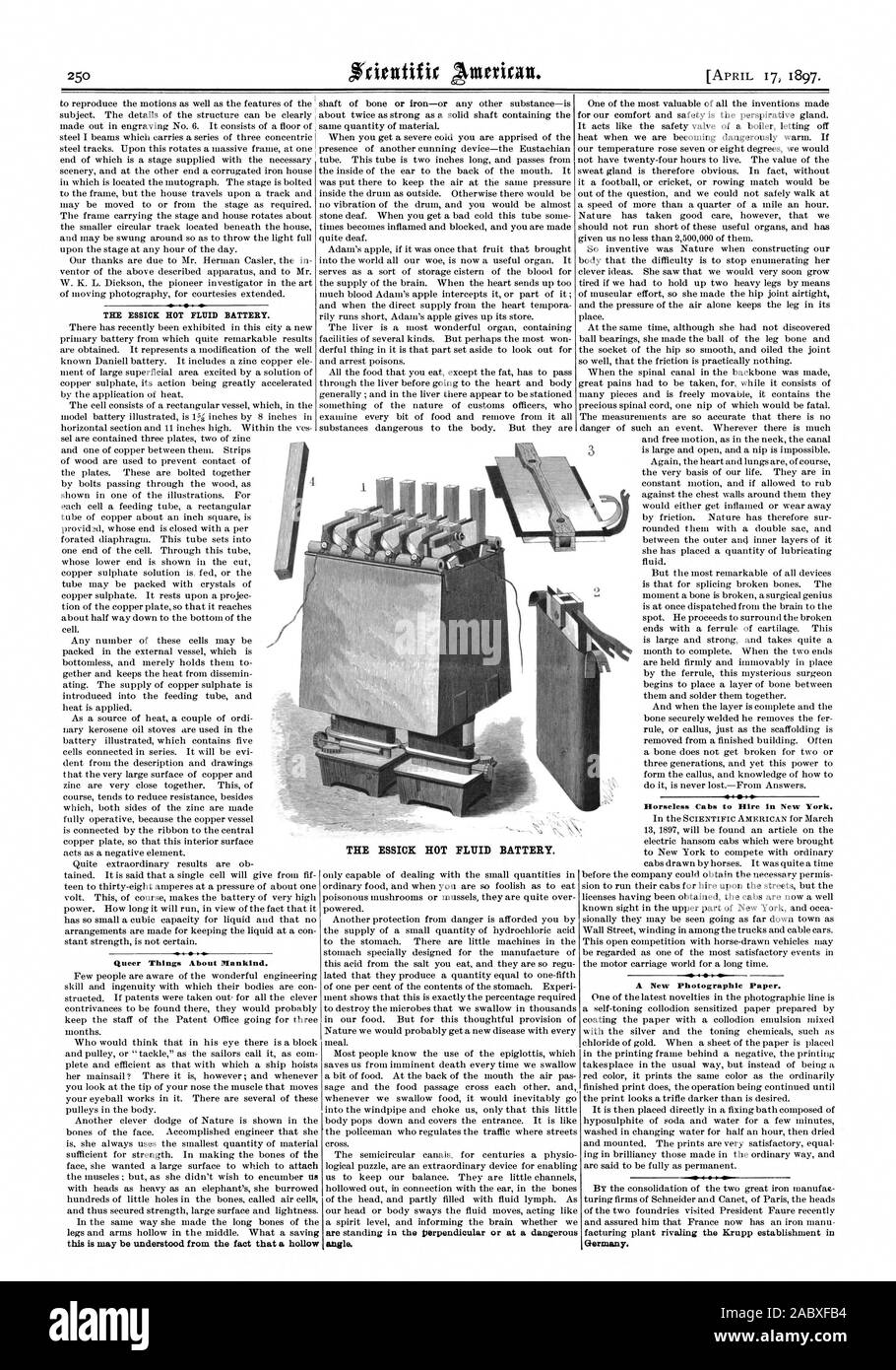THE MICK HOT FLUID BATTERY. Queer Things About Mankind. this is may be understood from the fact that a hollow Horseless Cabs to Hire in New York. A New Photographic Paper. Germany. THE ESSICK HOT FLUID BATTERY. angle., scientific american, 1897-04-17 Stock Photo