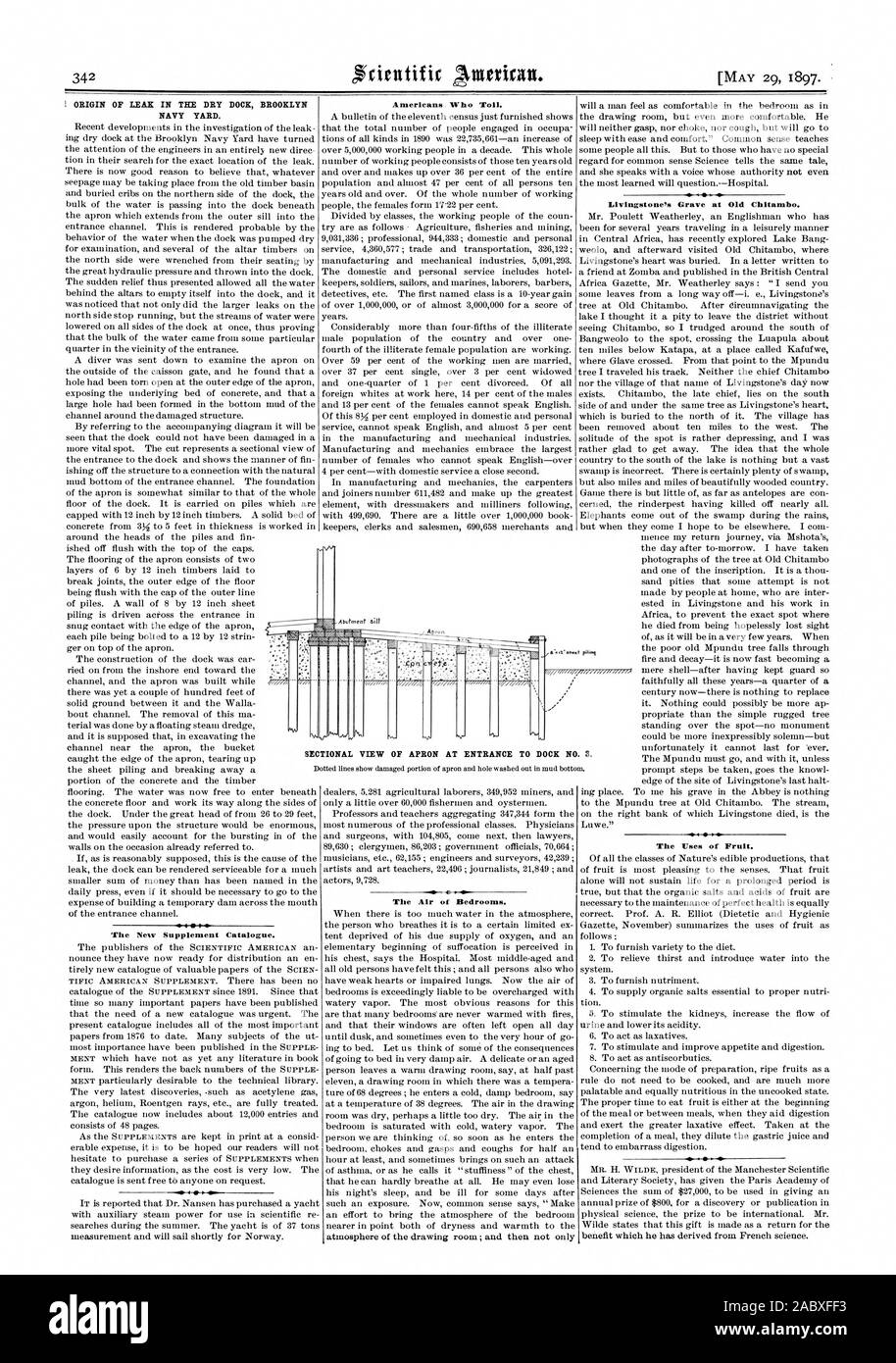 ORIGIN OF LEAK IN THE DRY DOCK BROOKLYN NAVY YARD. The New Supplement Catalogue. Americans Who Toil. TOR The Air of Bedrooms. Livingstone's Grave at Old Chitambo. The Uses of Fruit. SECTIONAL VIEW OF APRON AT ENTRANCE TO DOCK NO. S., scientific american, 1897-05-29 Stock Photo