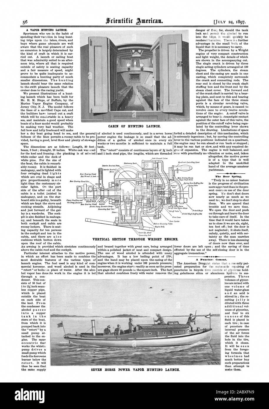 CABIN OF HUNTING LAUNCH.  The Door Spring. A Puncture Cement. VERTICAL SECTION THROUGH WRIGHT ENGINE. SEVEN HORSE POWER VAPOR HUNTING LAUNCH., scientific american, 1897-07-24 Stock Photo