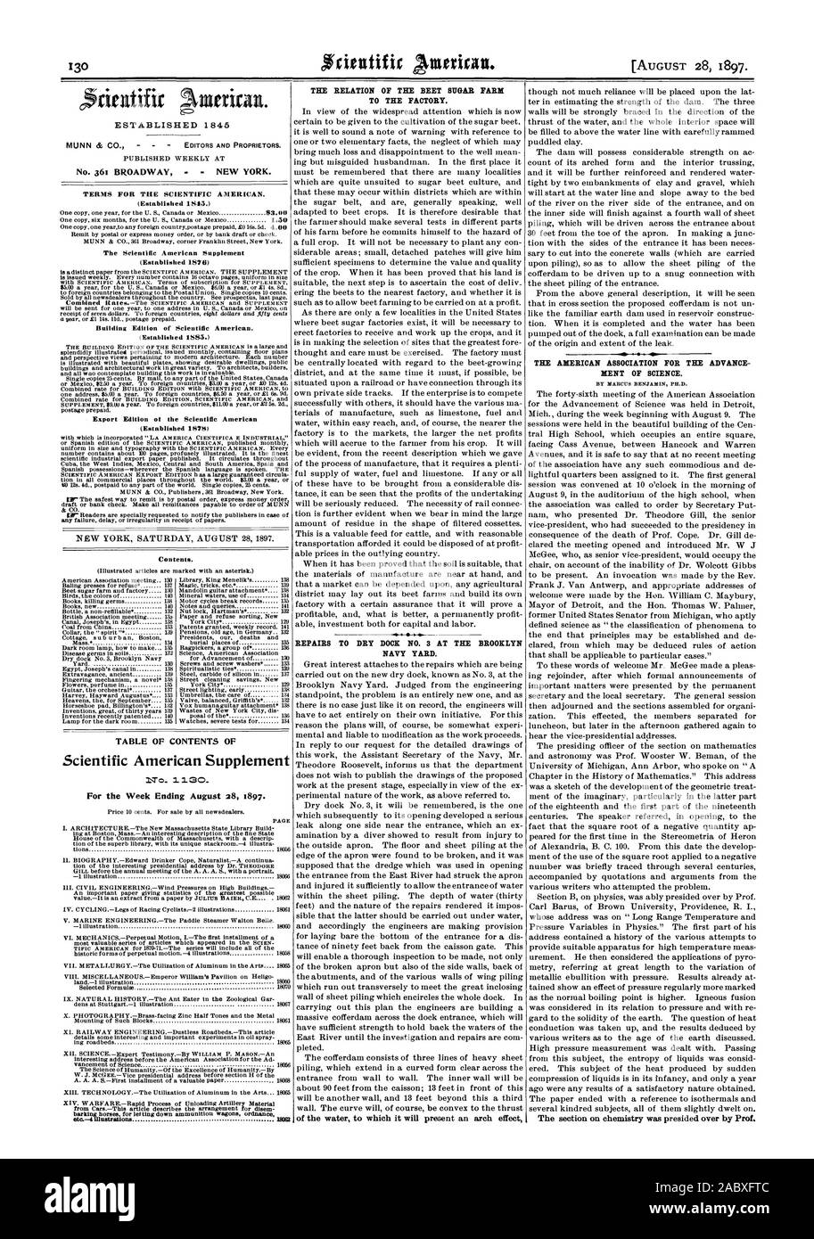 PUBLISHED WEEKLY AT No. 361 BROADWAY  NEW YORK. TERMS FOR THE SCIENTIFIC AMERICAN. (Established 1845.) The Scientific American Supplement (Established 1876) Building Edition of Scientific American. (Established 1885.) Export Edition ot the Scientific American (Established 1S7S) Contents. TABLE OF CONTENTS OF Scientific American Supplement No  30. For the Week Ending August 28 1897. THE RELATION OF THE BEET SUGAR FARM TO THE FACTORY. REPAIRS TO DRY DOCK NO. 3 AT THE BROOKLYN NAVY YARD. of the water to which it will present an arch effect THE AMERICAN ASSOCIATION FOR THE ADVANCE MENT OF SCIENCE Stock Photo