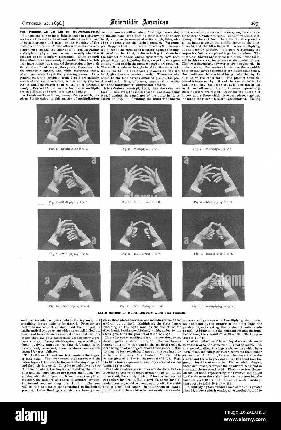OCTOBER 22 1898. OUR FINGERS AS AN AID IN MULTIPLICATION. Fig. 1Multiplying 9 X 9. Fig 2Multiplying 9 X 8. Fig 8Multiplying 7 X 7. Fig. 12Multiplying 16 x 17 Fig. 6Multiplying 8 X '7. RAPID METHOD OF MULTIPLICATION WITH THE FINGERS., scientific american, 1898-10-22 Stock Photo