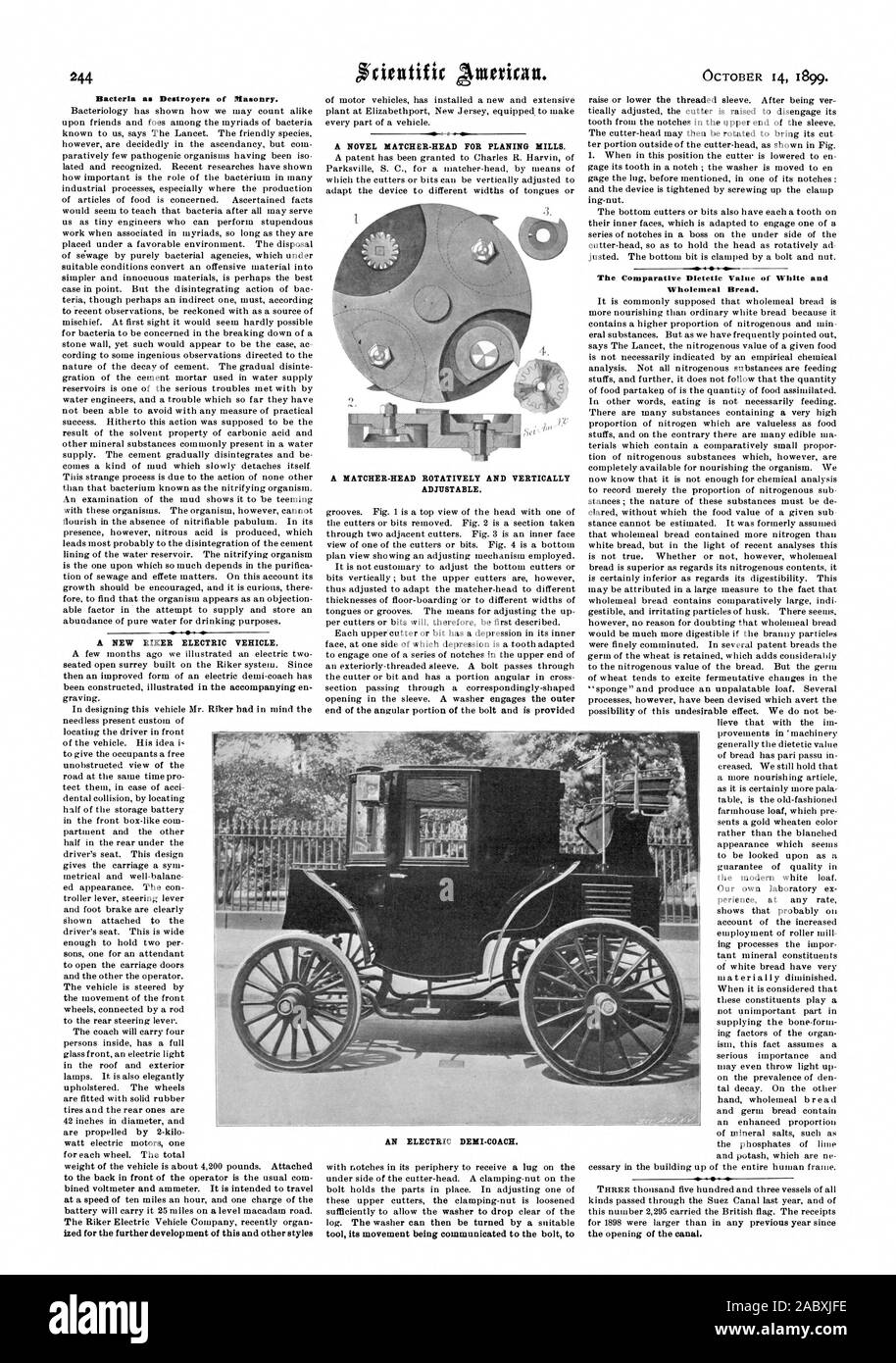 Bacteria as Destroyers of Masonry. A NEW BIKER ELECTRIC VEHICLE. A HATCHER-HEAD ROTATIVELY AND VERTICALLY ADJUSTABLE. tool its movement being communicated to the bolt t Wholemeal Bread., scientific american, 1899-10-14 Stock Photo