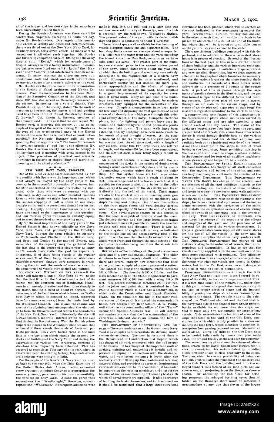 NEW YORK NAVY YARD BROOKLYN., scientific american, 1900-03-03 Stock Photo