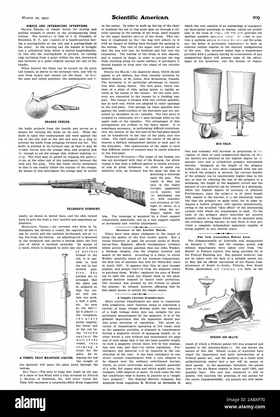 SIMPLE AND INTERESTING INVENTIONS. ORANGE PEELER. Inventor of the Lucifer Hatch. A Simple Current Transformer. BUG TRAP. The New Australian Patent Law. SPRING ICE SKATE. TELESCOPIC GUNSIGHT., scientific american, 1902-03-22 Stock Photo