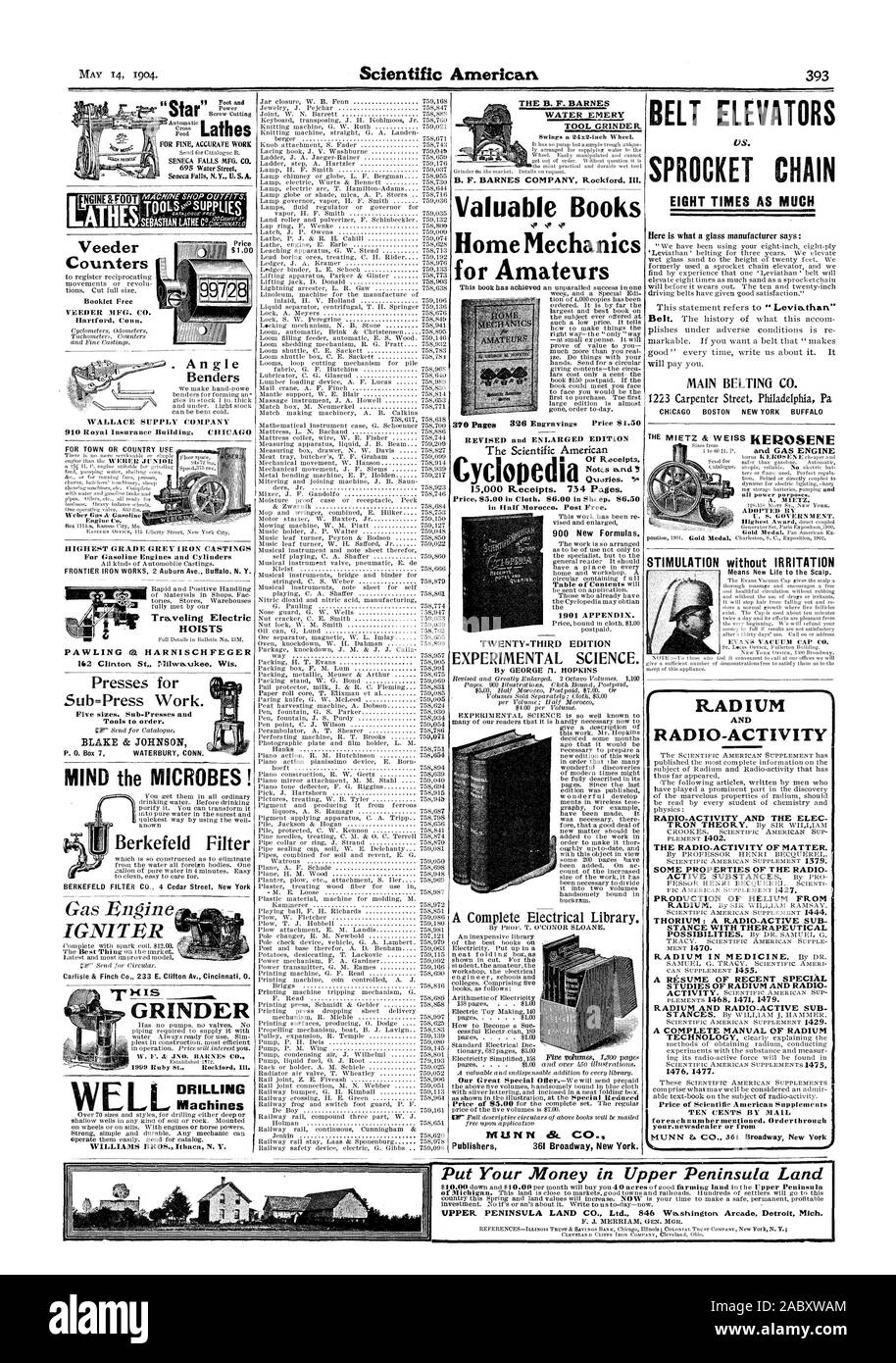 for each number mentioned. Order through your.newsdealer or from STIMULATION without IRRITATION PAWLING ta HARNISCHFEGER HOISTS Counters Booklet Free VEEDER MFG. CO. Hartford Conn. Automatic TOOLSesuPPLIES . An gle  Benders WALLACE SUPPLY COMPANY 910 Royal Insurance Building CHICAG HIGHEST GRADE GREY IRON CASTINGS For Gasoline Engines and Cylinders Presses for Sub=Press Work. Five sizes. Sub-Presses and Tools to order. WEL Machines Gas Engine IGNITER Berkefeld Filter Put Your Money in Upper Peninsula Land, scientific american, 1904-05-14 Stock Photo