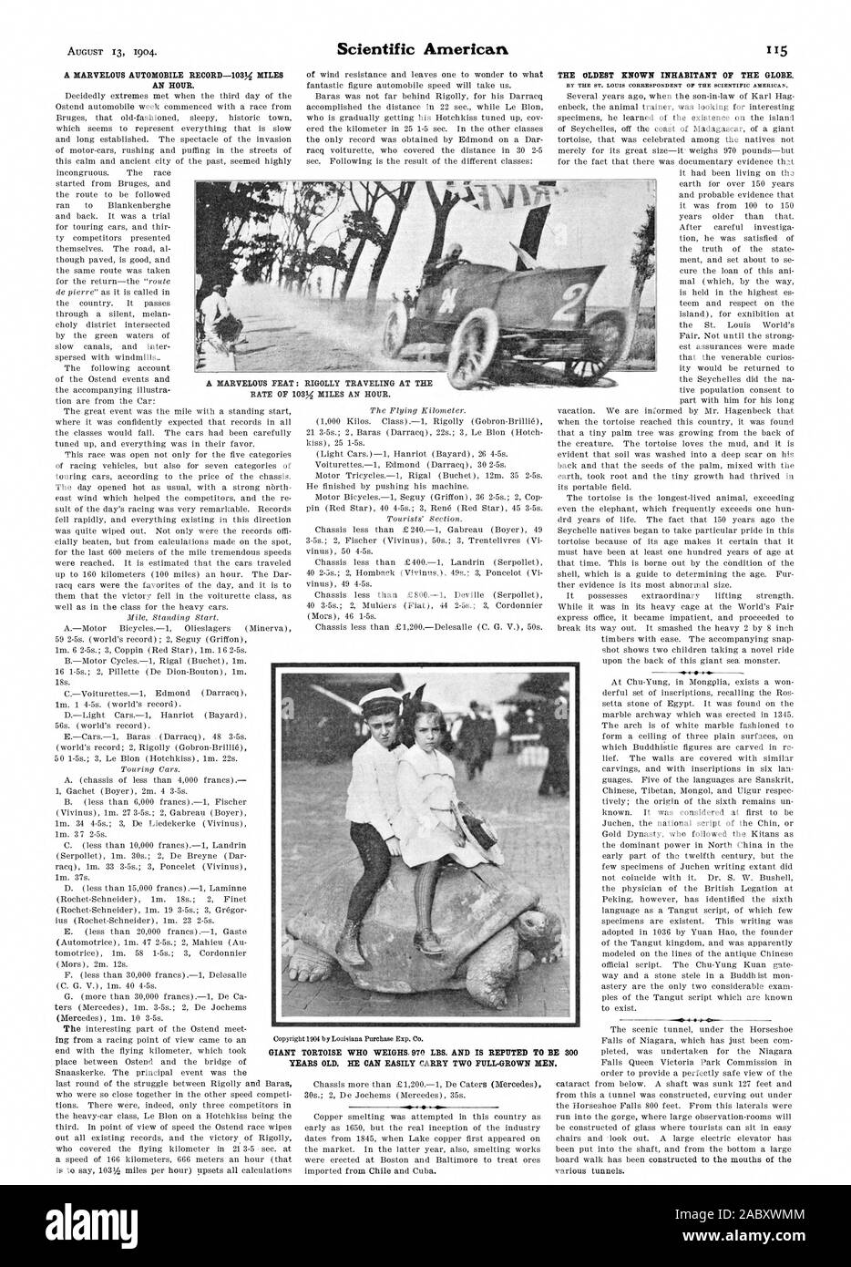 A MARVELOUS AUTOMOBILE RECORD-103% MILES AN HOUR. THE OLDEST KNOWN INHABITANT OF THE GLOBE. A MARVELOUS FEAT: RICrOLLY TRAVELING AT THE RATE OF 103% MILES AN HOUR. YEARS OLD. HE CAN EASILY CARRY TWO FULL GROWN MEN., scientific american, 1904-08-13 Stock Photo