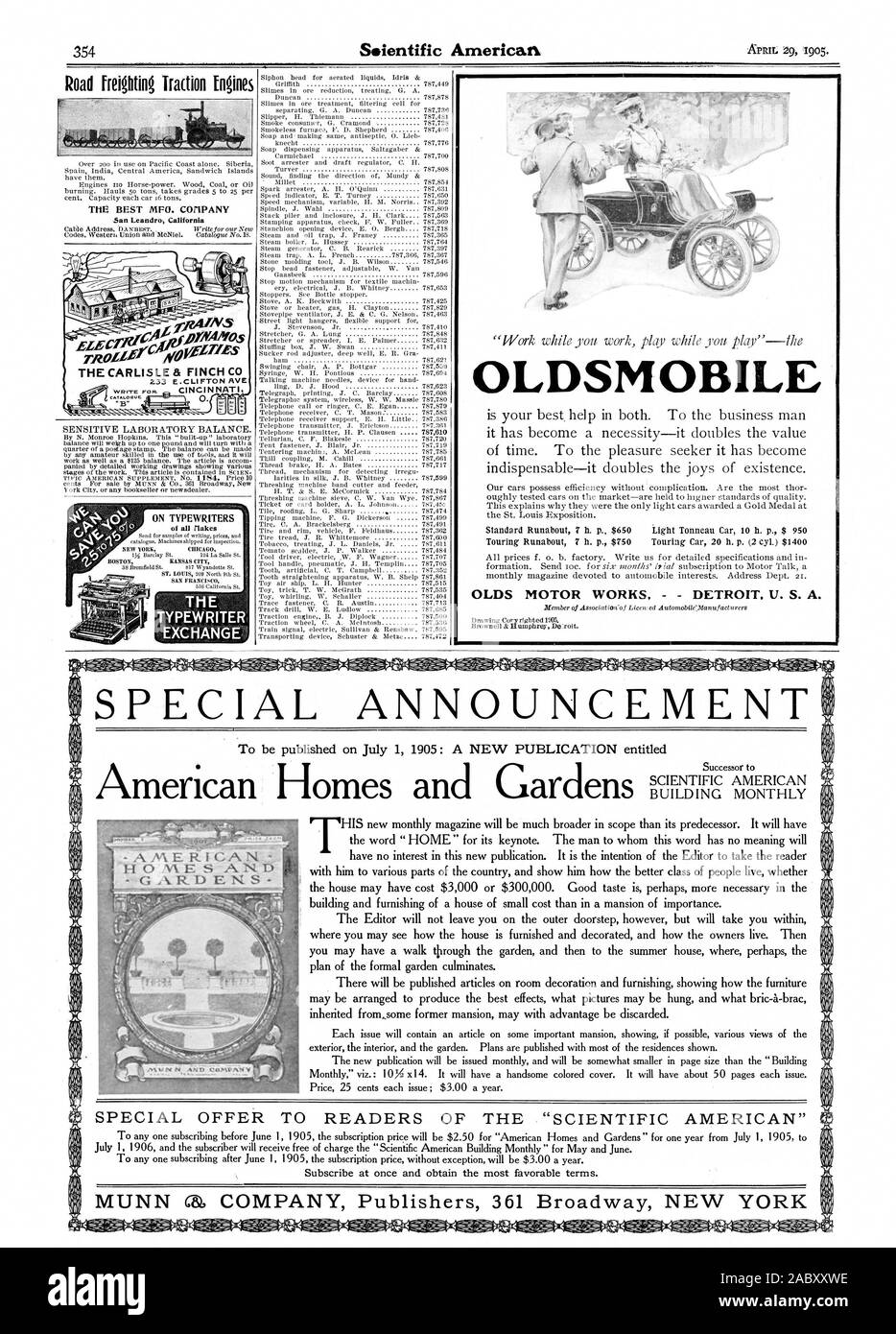 OLDSMOBILE OLDS MOTOR WORKS DETROIT U. S. A. Drawing Cory righted 1905. Road freighting Traction Mines Over zoo in use on Pacific Coast alone. Siberia Spain India Central America Sandwich Islands have them. Engines Ito Horse-power. Wood Coal or Oil burning. Hauls 50 tons takes grades 5 to 25 per cent. Capacity each car 16 tons. San Leandro. California balance win weigh up to one pound and will turn with a by any amateur skilled in the use of tools and it will work as well as a $125 balance. The article is accom panied by detailed working drawings showing various York City or any bookseller or Stock Photo