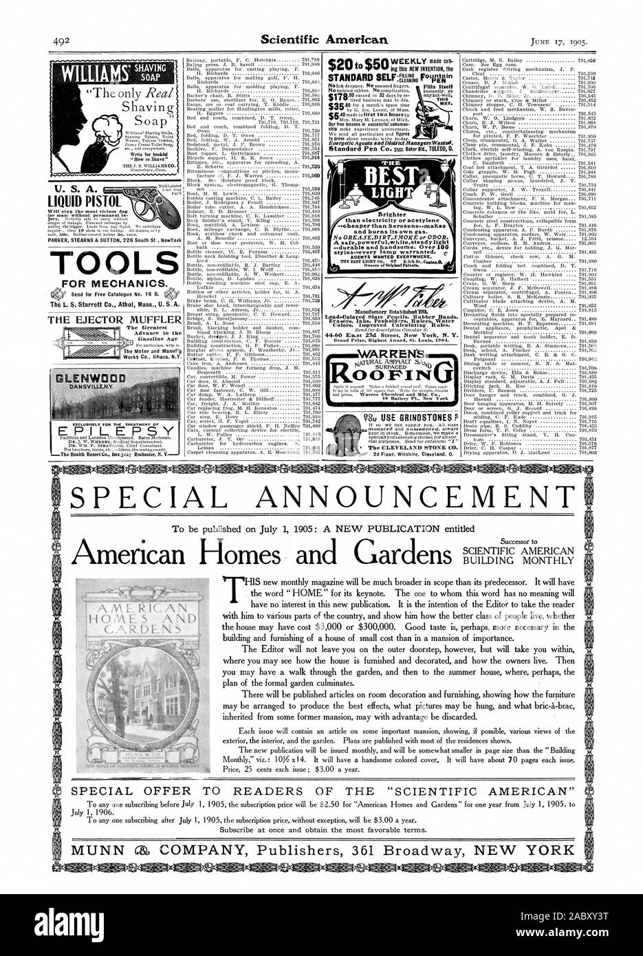 TOOLS FOR MECHANICS. mcsommiNUENCD. m) WARREN'S.m.% 0 0 F I NI Shaving w Brighter No GREASEDIRTSNOKE or ODOR. Energetic Agents and District Managers Wanted. U. S. A. LIQUID PISTOL SPECIAL ANNOUNCEMENT AMERICA IHOMES  AND GARDENS  h SPECIAL OFFER TO READERS OF THE 'SCIENTIFIC AMERICAN, 1905-06-17 Stock Photo