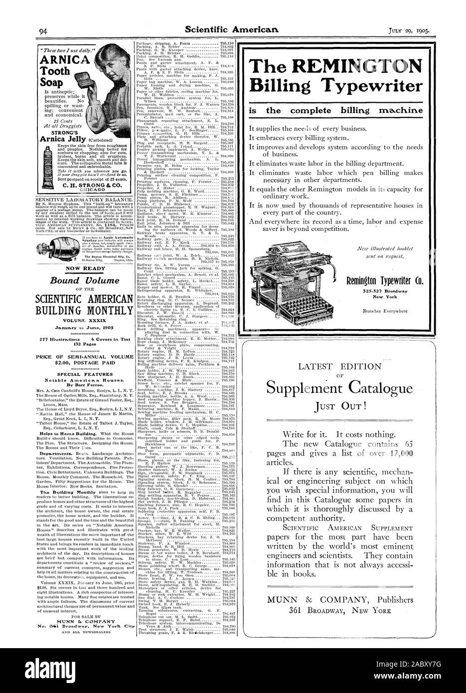 by any amateur skilled in the use of tools. and it will work as well as a $125 balance. The article is accom panied by detailed working drawings showing various stages of the work. This article is contained in SCIEN York City or any bookseller or newsdealer. NOW READY Bound Volume VOLUME XXXIX January to June 1905 illI3 I 277 Illustrations   6 Covers in Tint 132 Pages PRICE OF SEMI-ANNUAL VOLUME $2.00 POSTAGE PAID SPECIAL FEATURES Notable American Houses. By Barr Ferree. AND ALL NEWSDEALERS Packing A. B. Sehier   7950 Package shipping A. Fonts     : Packing G. M. Kneuper   794987 Packing J. H Stock Photo