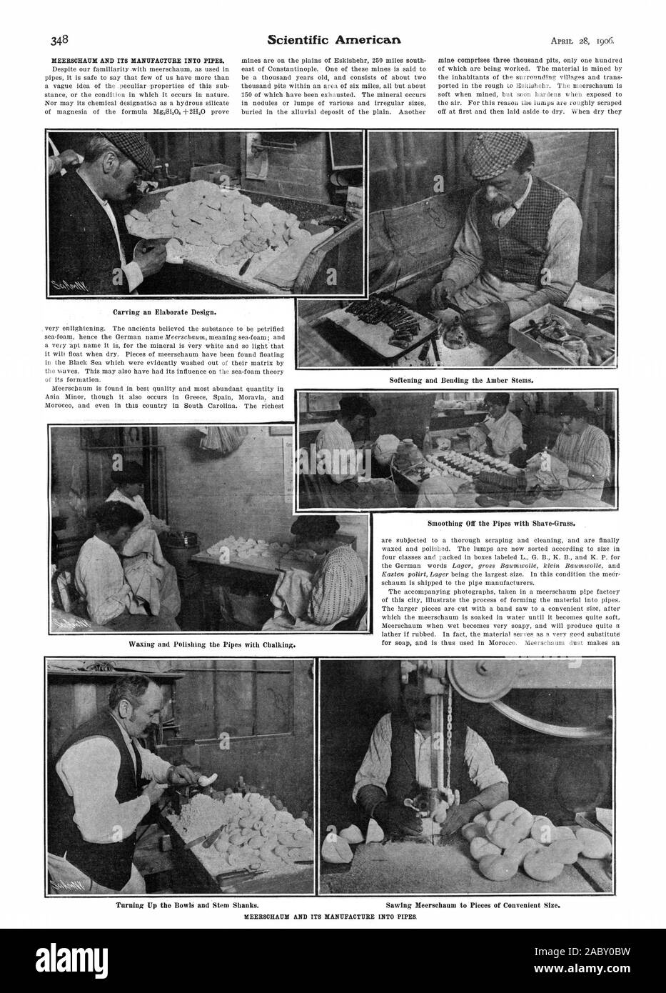Carving an Elaborate Design. Smoothing Off the Pipes with Shave-Grass., scientific american, 1906-04-28 Stock Photo