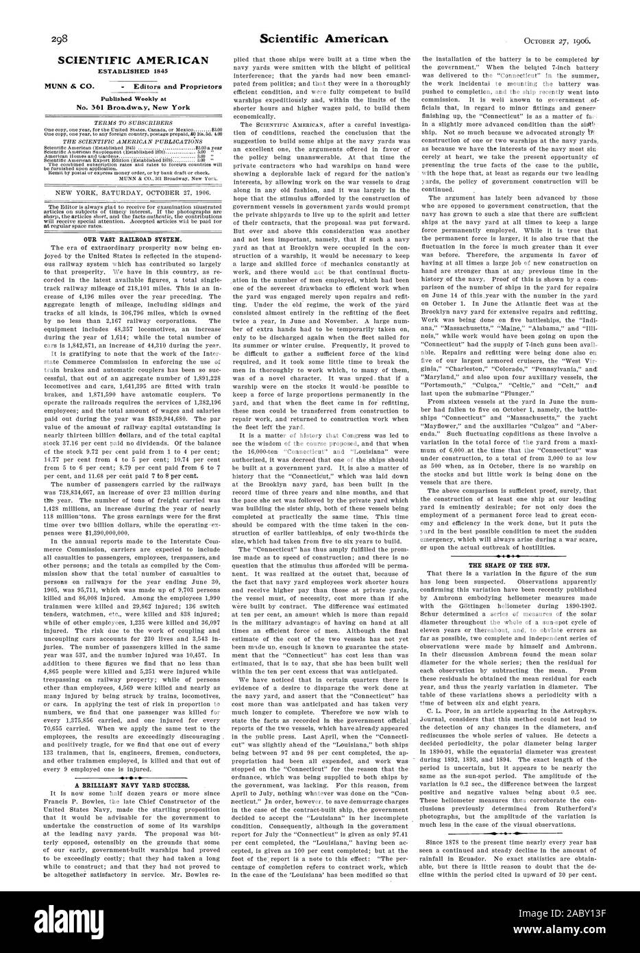SCIENTIFIC AMER.ICAN No. 361 Broa.dwa.y. New York OUR VAST RAILROAD SYSTEM. A BRILLIANT NAVY YARD SUCCESS. THE SHAPE OF THE SUN., scientific american, 1906-10-27 Stock Photo