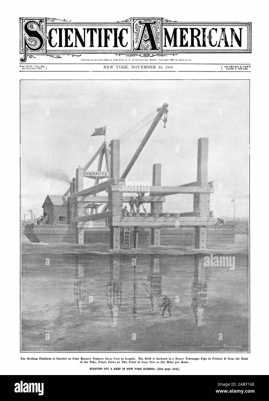 The Drilling Platform is Carried on Four Massive Timbers Sixty Peet in Length. The Drill is Inclosed in a Heavy Telescopic Pipe to Protect It from the Rush CIENTIFIC MERICAN, scientific american, 1906-11-24 Stock Photo