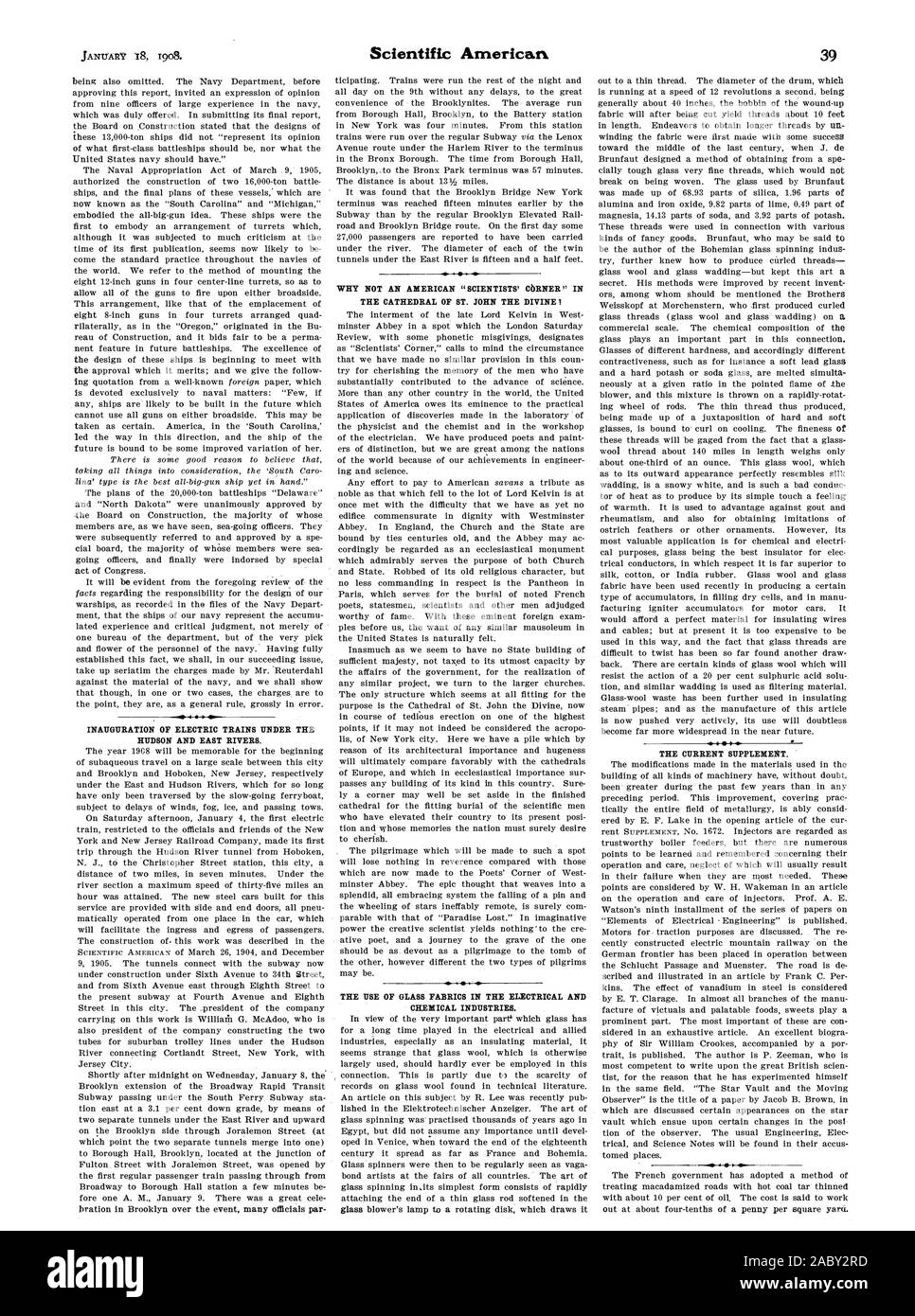 INAUGURATION OF ELECTRIC TRAINS UNDER THE HUDSON AND EAST RIVERS. WHY NOT AN AMERICAN 'SCIENTISTS' CORNER' IN THE USE OF GLASS FABRICS IN THE ELECTRICAL AND CHEXICAL INDUSTRIES. THE CURRENT SUPPLEMENT. 0, scientific american, 1908-01-18 Stock Photo