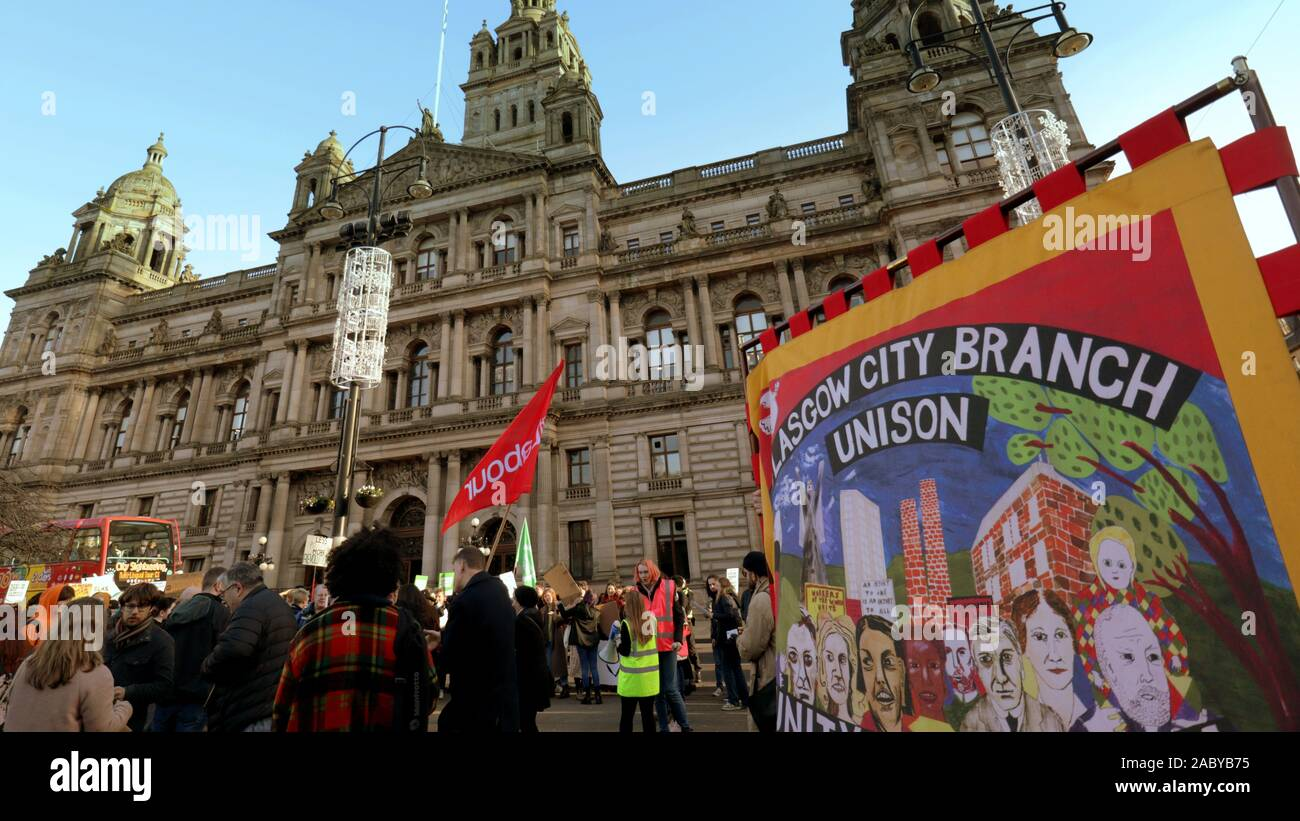 Glasgow, Scotland, UK. 29th Nov, 2019. Black Friday saw a climate protest in George Square the home the council city chambers as the youngest smp in Scotland and famous ginger Ross Greer addressed the young crowd. Credit: gerard ferry/Alamy Live News Stock Photo