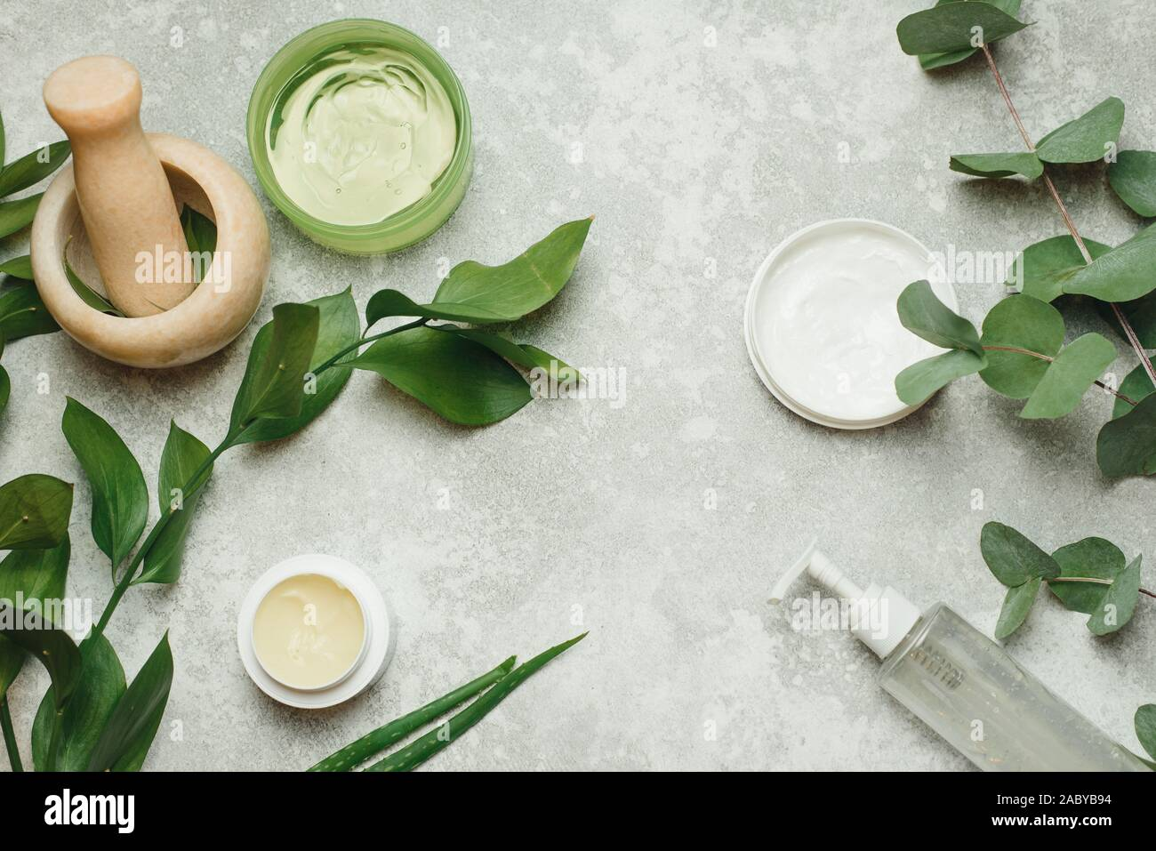 Flat Lay Composition With Cosmetic Products On Grey Background Natural Organic Botany Alternative Herb Medicine Natural Skin Care Beauty Products Stock Photo Alamy