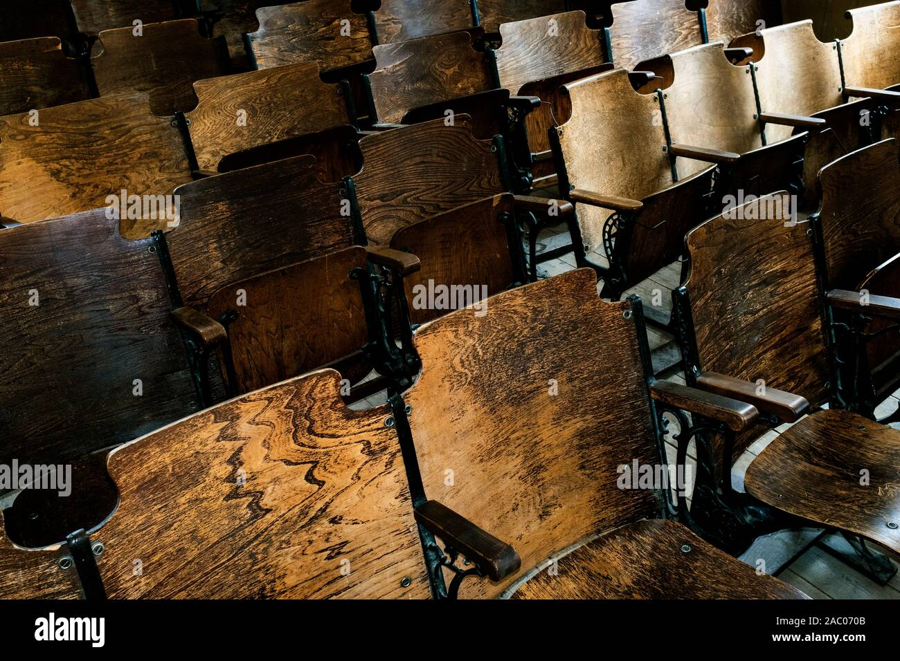 MT00336-00...MONTANA - Seats in the church at Bannack State Park, Beaverhead County. Stock Photo