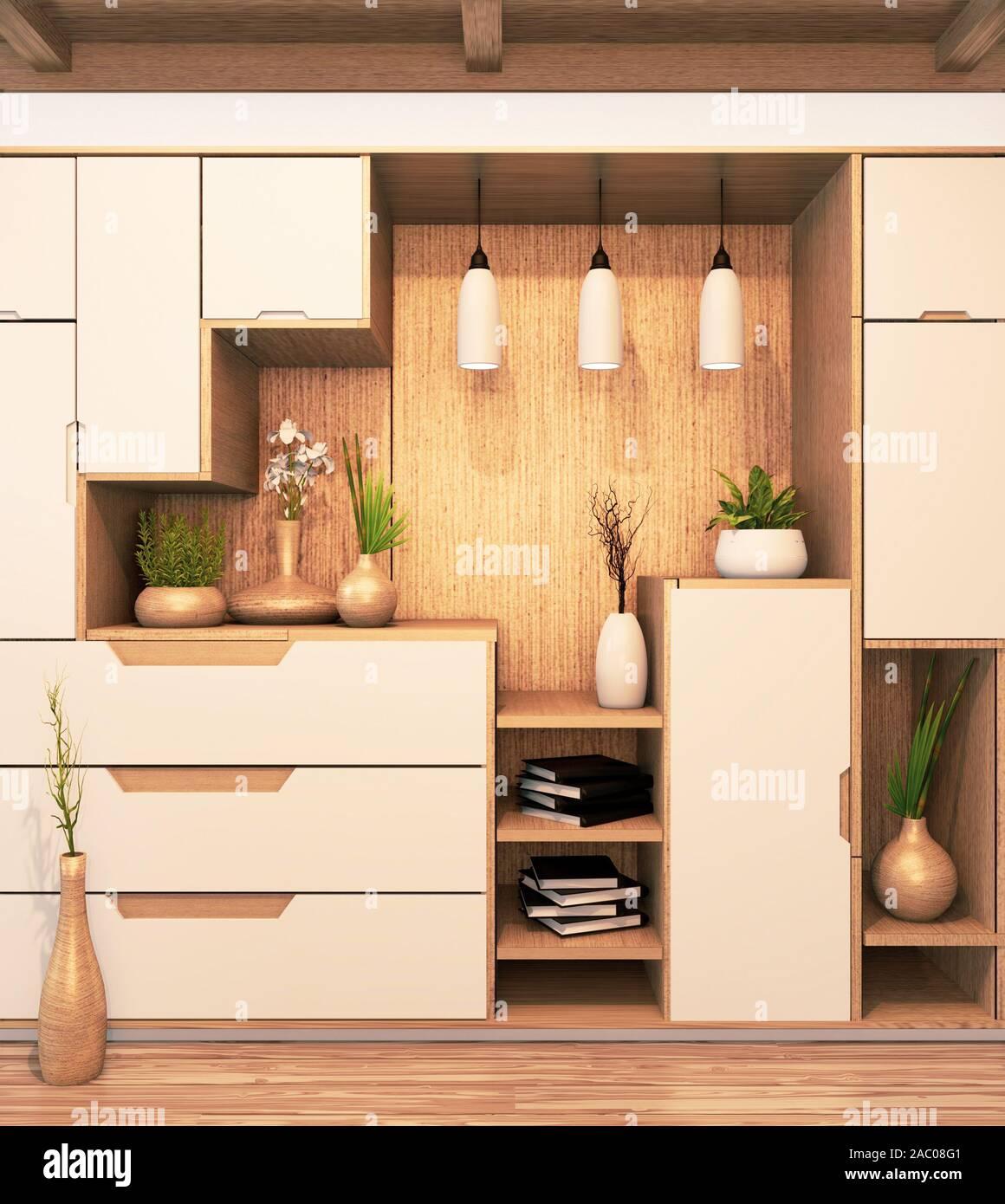 Design Cabinet Shelf Wooden Japanese Style On Empty Room